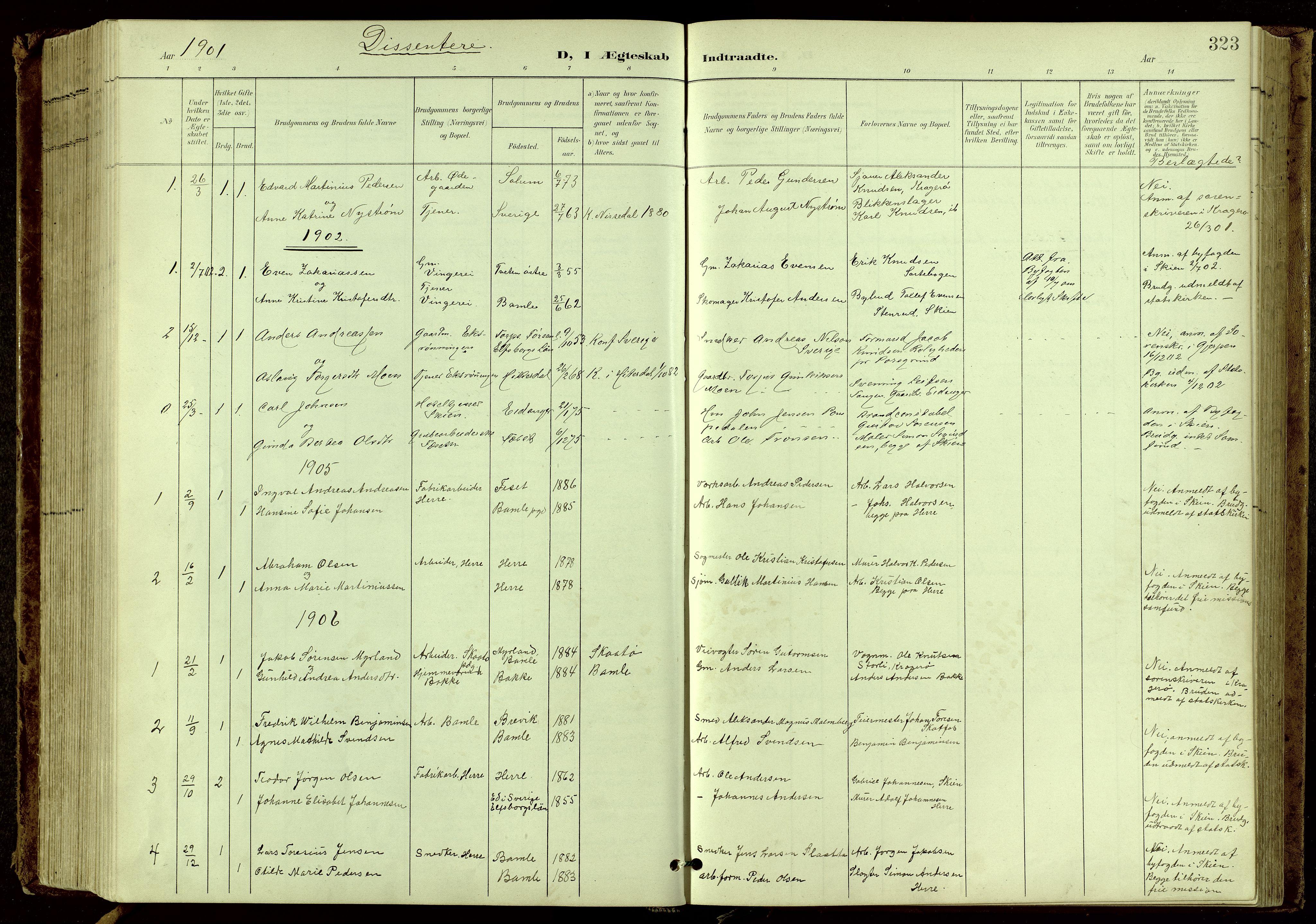 SAKO, Bamble kirkebøker, G/Ga/L0010: Klokkerbok nr. I 10, 1901-1919, s. 323