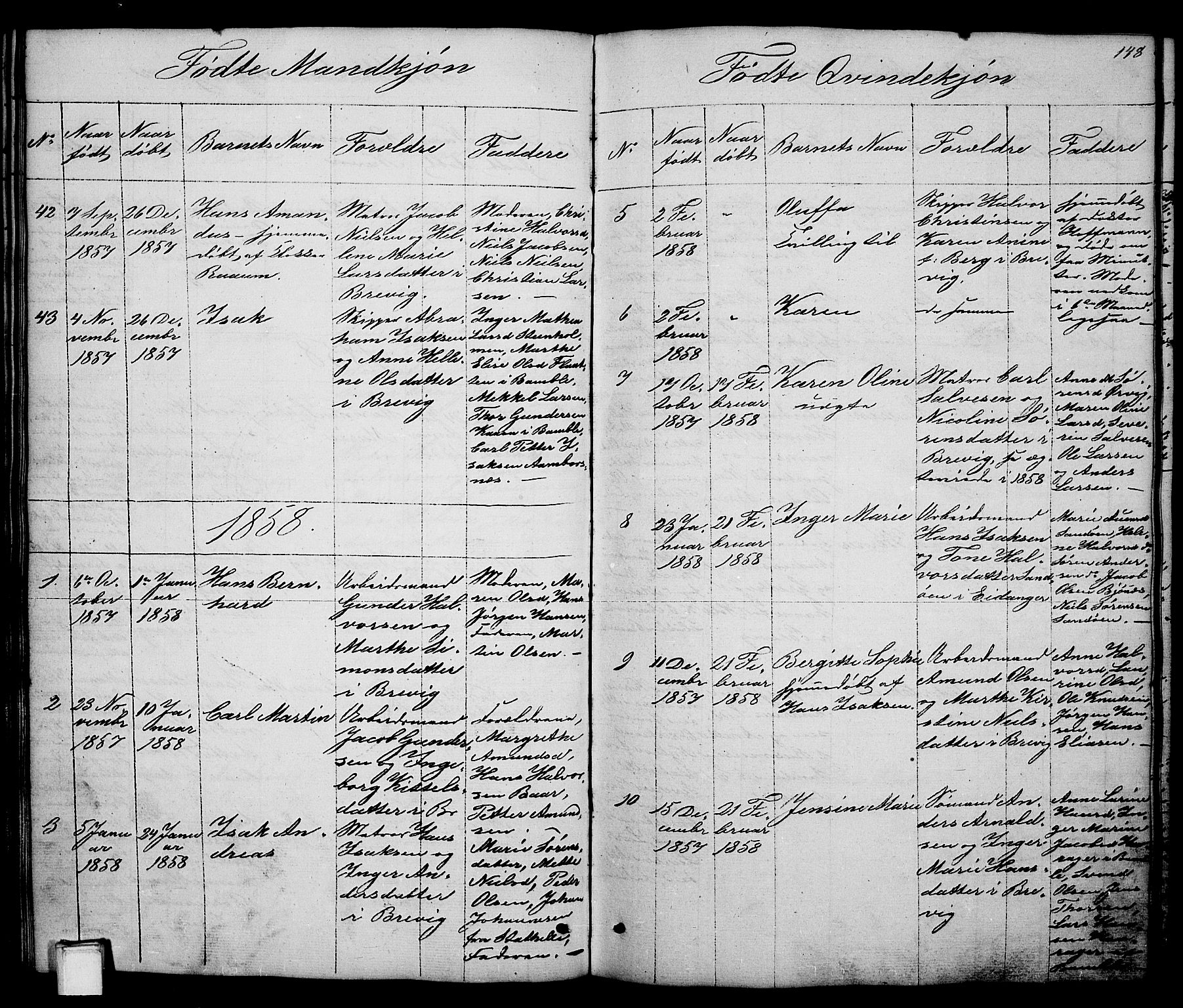 SAKO, Brevik kirkebøker, G/Ga/L0002: Klokkerbok nr. 2, 1846-1865, s. 148