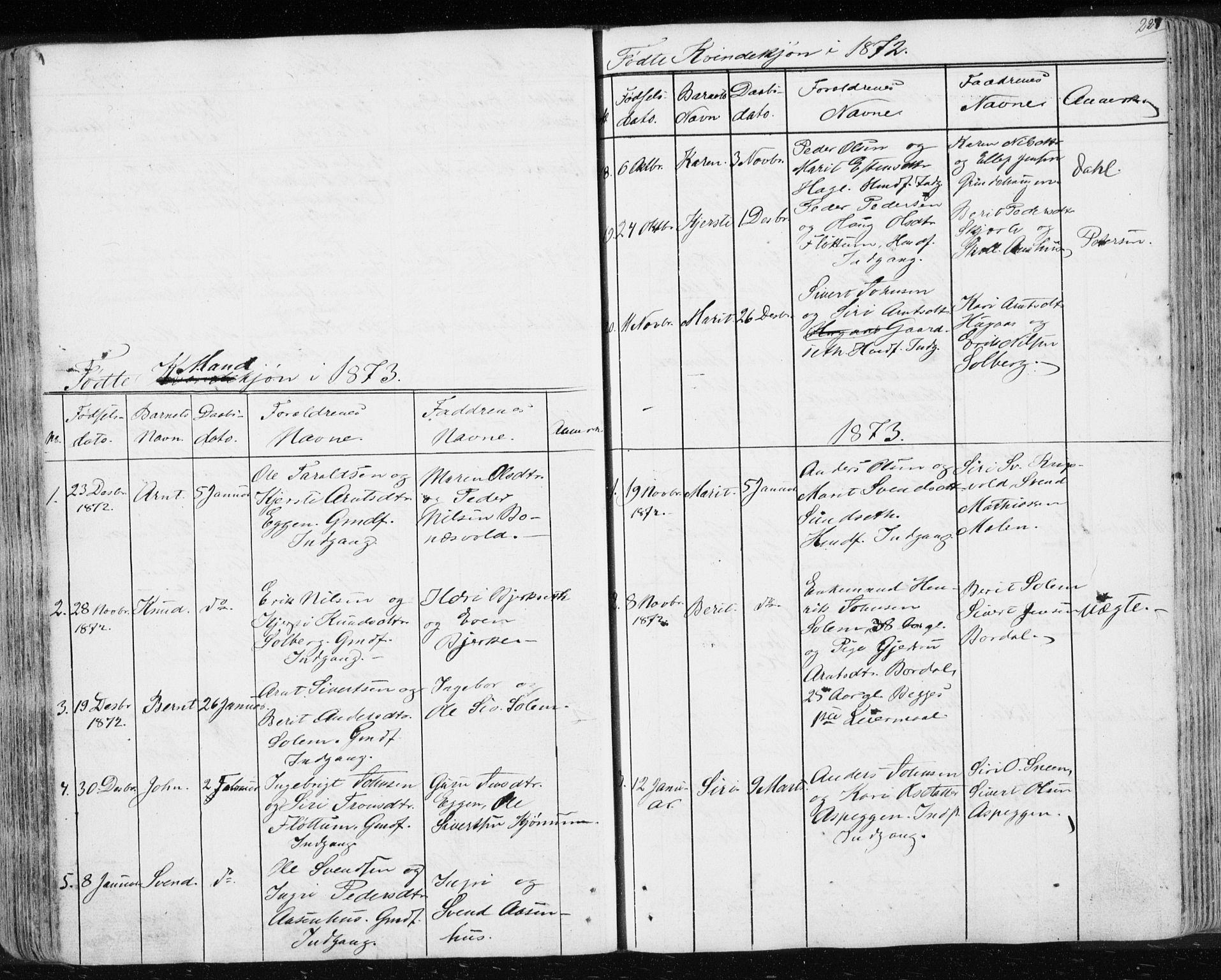 SAT, Ministerialprotokoller, klokkerbøker og fødselsregistre - Sør-Trøndelag, 689/L1043: Klokkerbok nr. 689C02, 1816-1892, s. 227