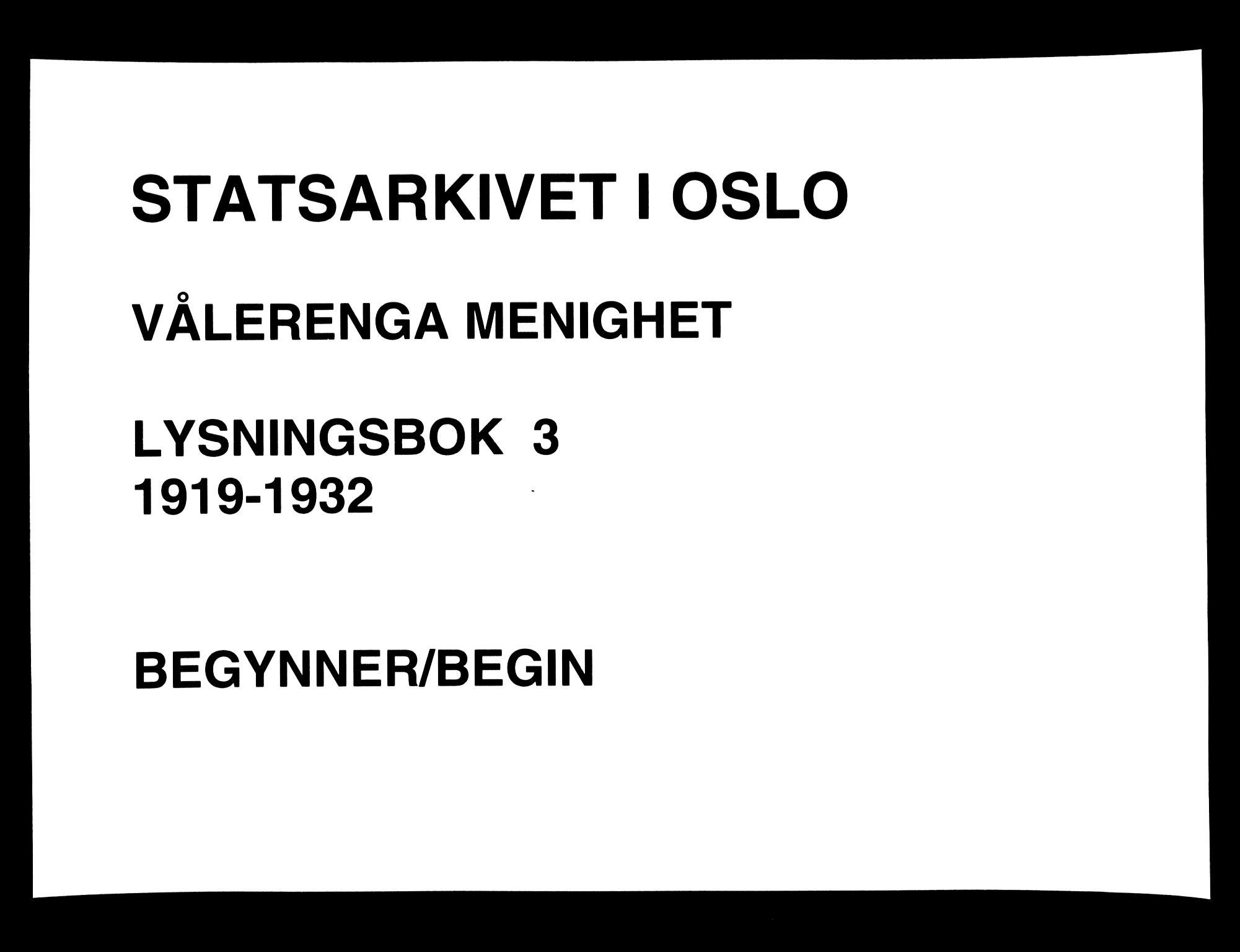 SAO, Vålerengen prestekontor Kirkebøker, H/Ha/L0003: Lysningsprotokoll nr. 3, 1919-1932
