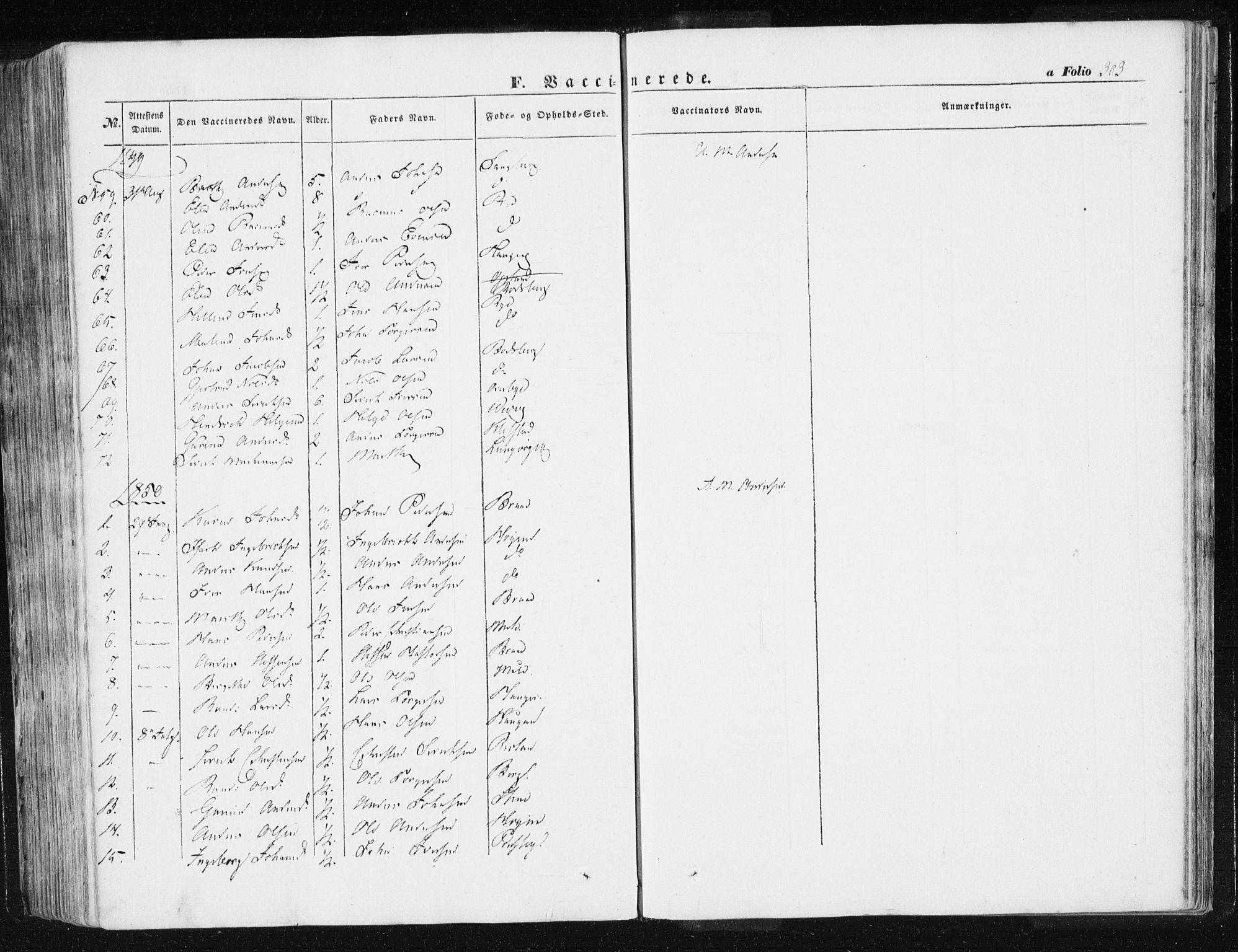 SAT, Ministerialprotokoller, klokkerbøker og fødselsregistre - Sør-Trøndelag, 612/L0376: Ministerialbok nr. 612A08, 1846-1859, s. 303