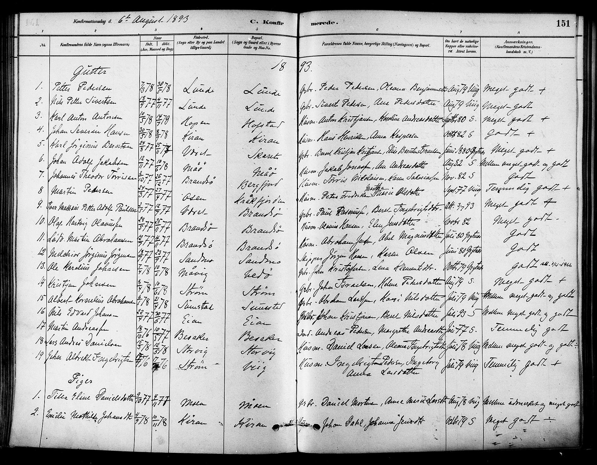 SAT, Ministerialprotokoller, klokkerbøker og fødselsregistre - Sør-Trøndelag, 657/L0707: Ministerialbok nr. 657A08, 1879-1893, s. 151
