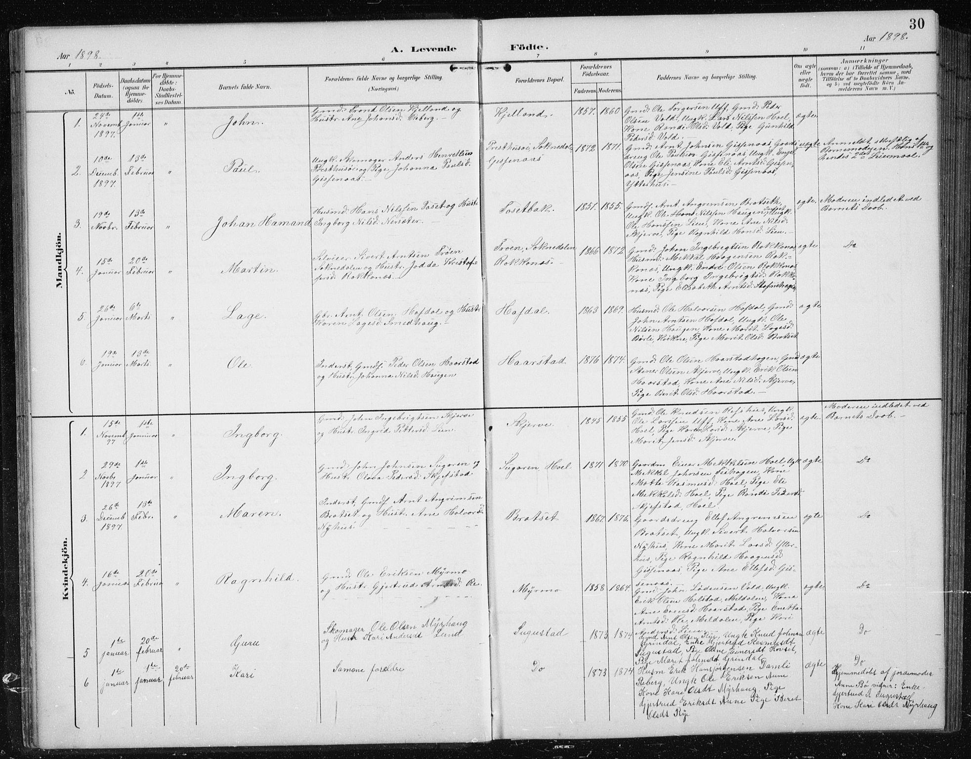 SAT, Ministerialprotokoller, klokkerbøker og fødselsregistre - Sør-Trøndelag, 674/L0876: Klokkerbok nr. 674C03, 1892-1912, s. 30