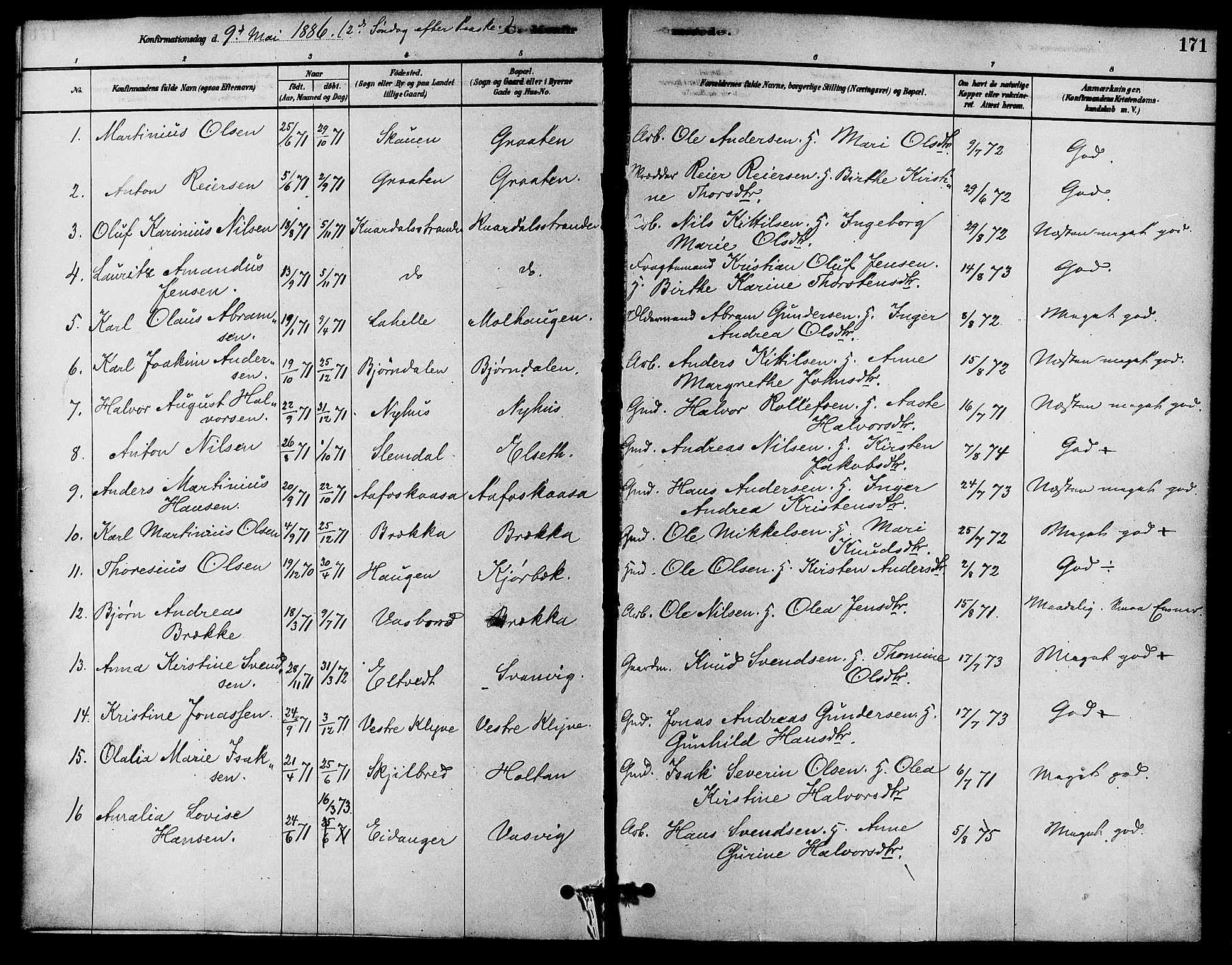 SAKO, Solum kirkebøker, F/Fa/L0009: Ministerialbok nr. I 9, 1877-1887, s. 171