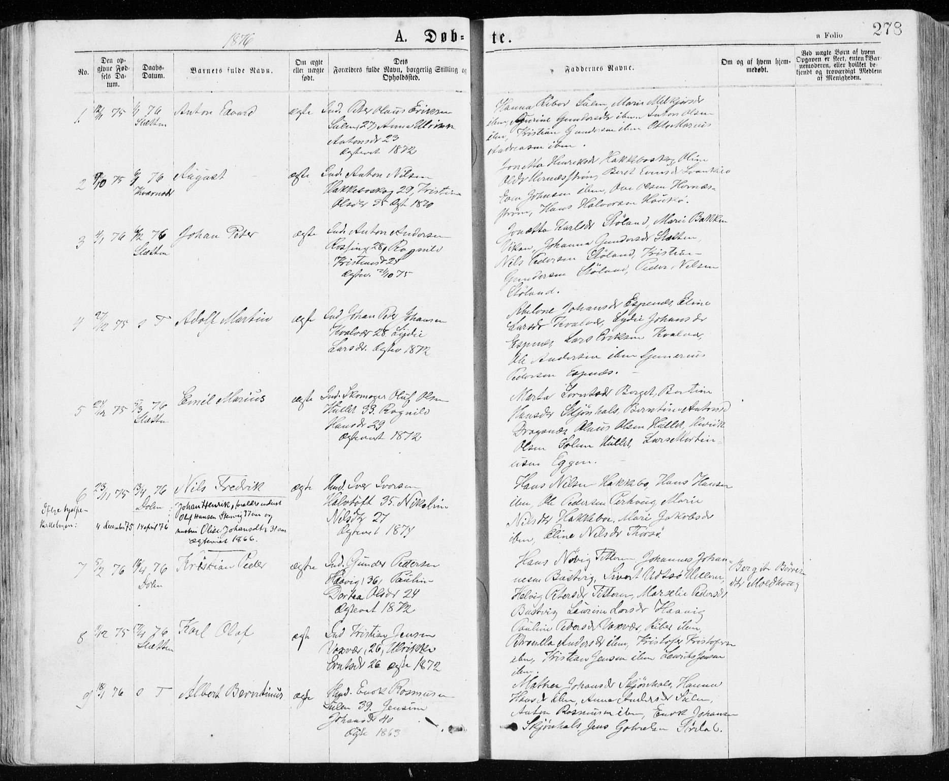 SAT, Ministerialprotokoller, klokkerbøker og fødselsregistre - Sør-Trøndelag, 640/L0576: Ministerialbok nr. 640A01, 1846-1876, s. 278