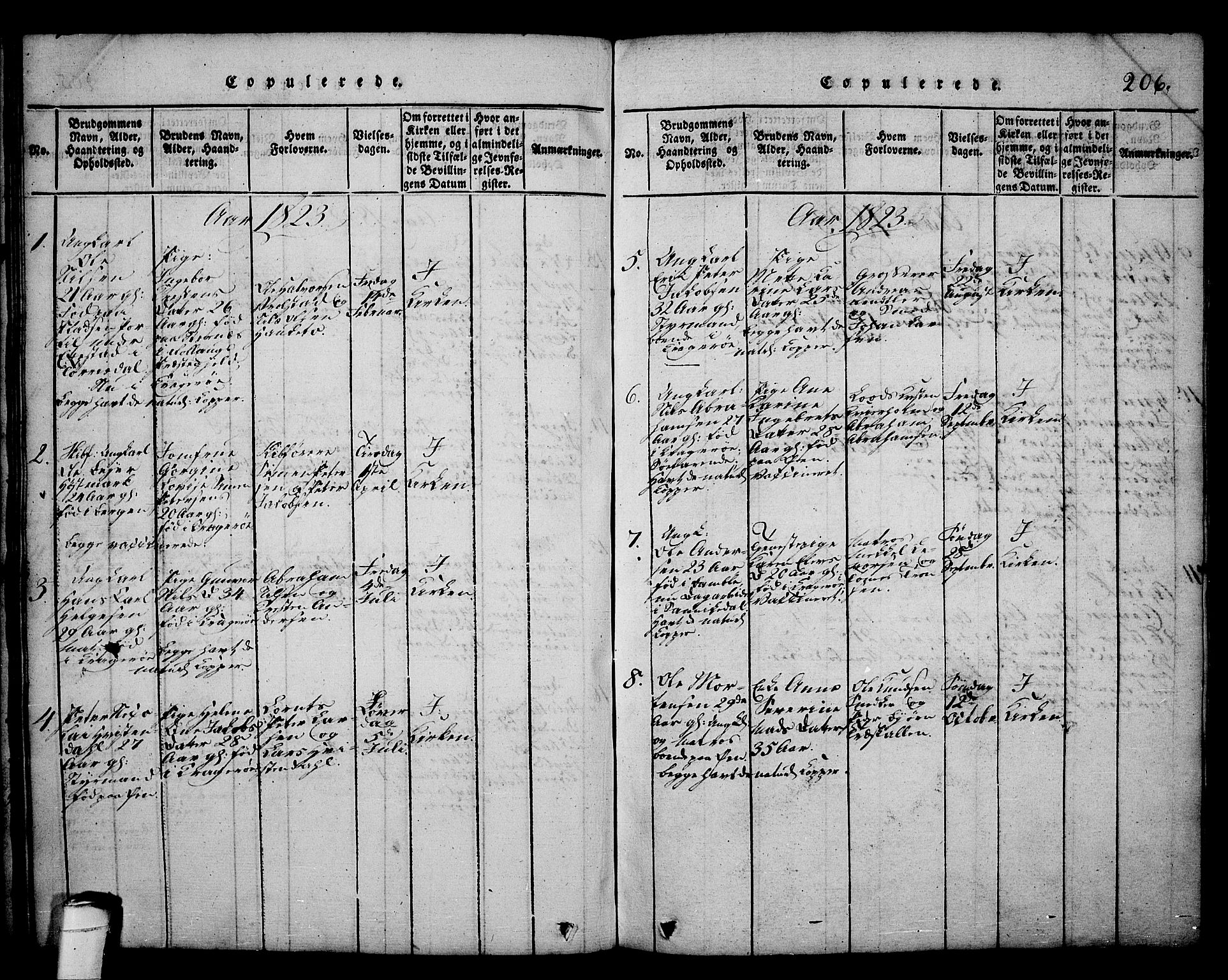 SAKO, Kragerø kirkebøker, G/Ga/L0002: Klokkerbok nr. 2, 1814-1831, s. 206