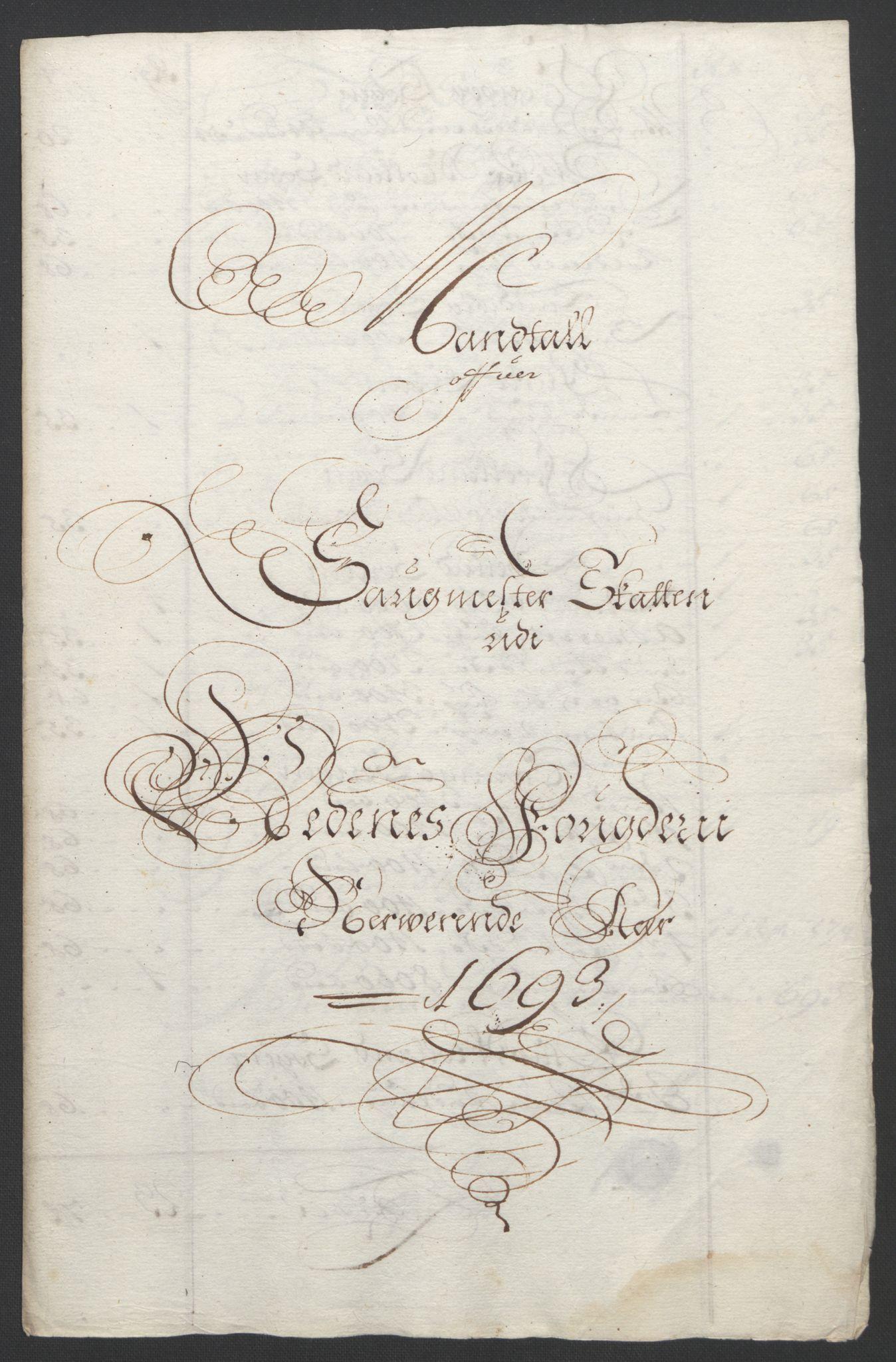 RA, Rentekammeret inntil 1814, Reviderte regnskaper, Fogderegnskap, R39/L2312: Fogderegnskap Nedenes, 1693-1695, s. 27
