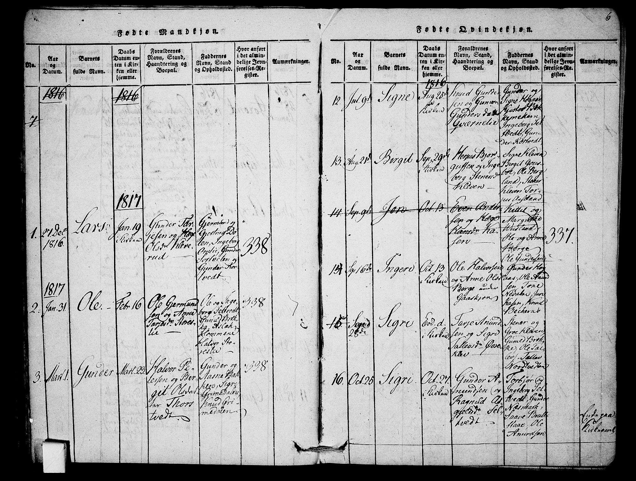 SAKO, Mo kirkebøker, F/Fb/L0001: Ministerialbok nr. II 1, 1814-1844, s. 6