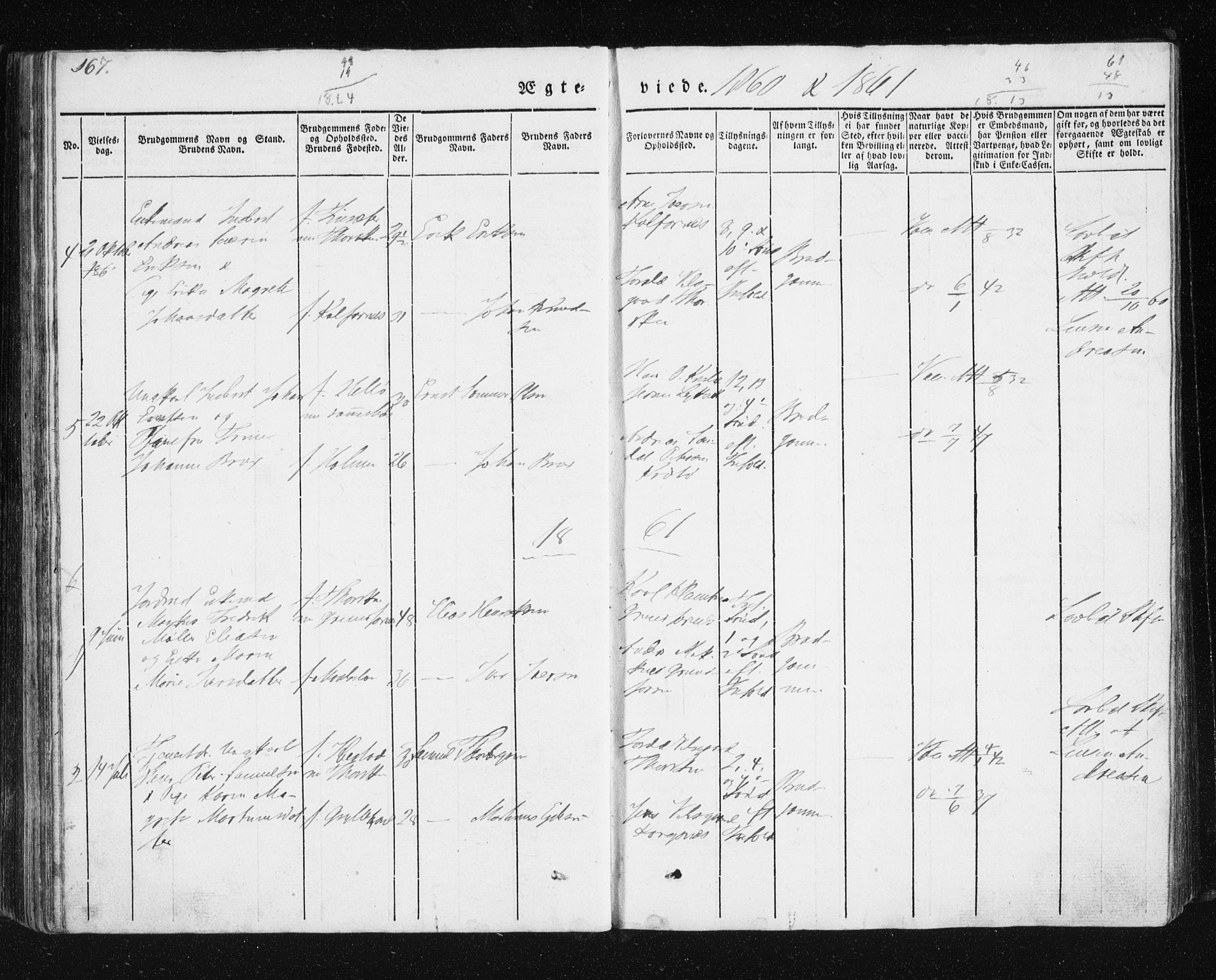 SATØ, Mefjord/Berg sokneprestkontor, G/Ga/Gab/L0011klokker: Klokkerbok nr. 11, 1833-1878, s. 167