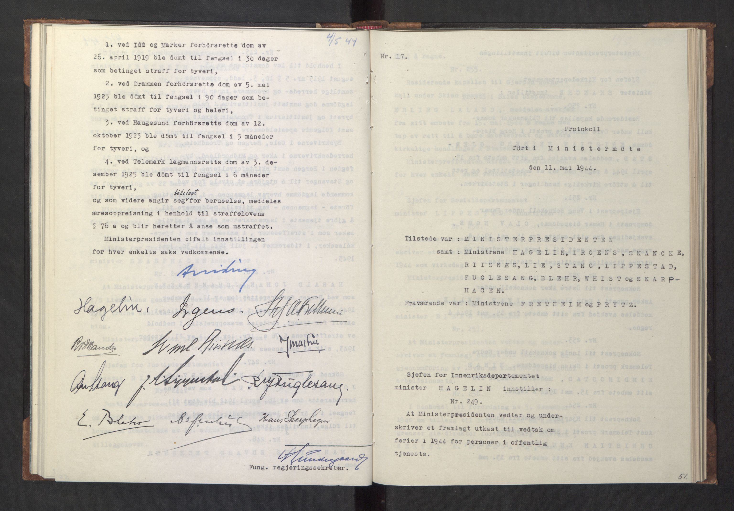 RA, NS-administrasjonen 1940-1945 (Statsrådsekretariatet, de kommisariske statsråder mm), D/Da/L0005: Protokoll fra ministermøter, 1944, s. 50b-51a