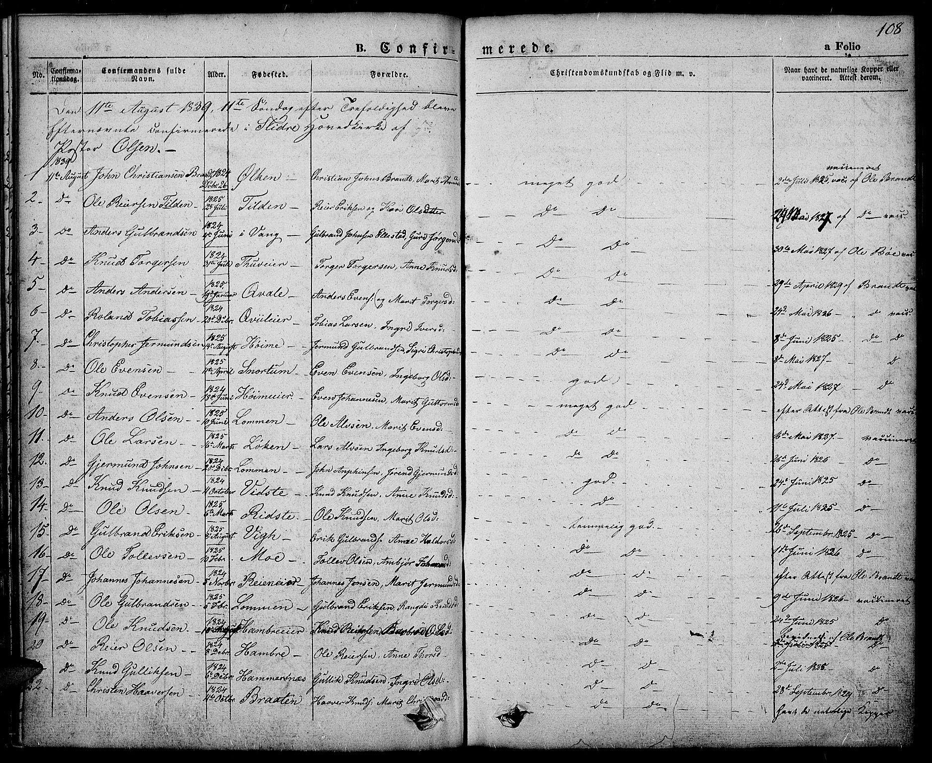 SAH, Slidre prestekontor, Ministerialbok nr. 3, 1831-1843, s. 108