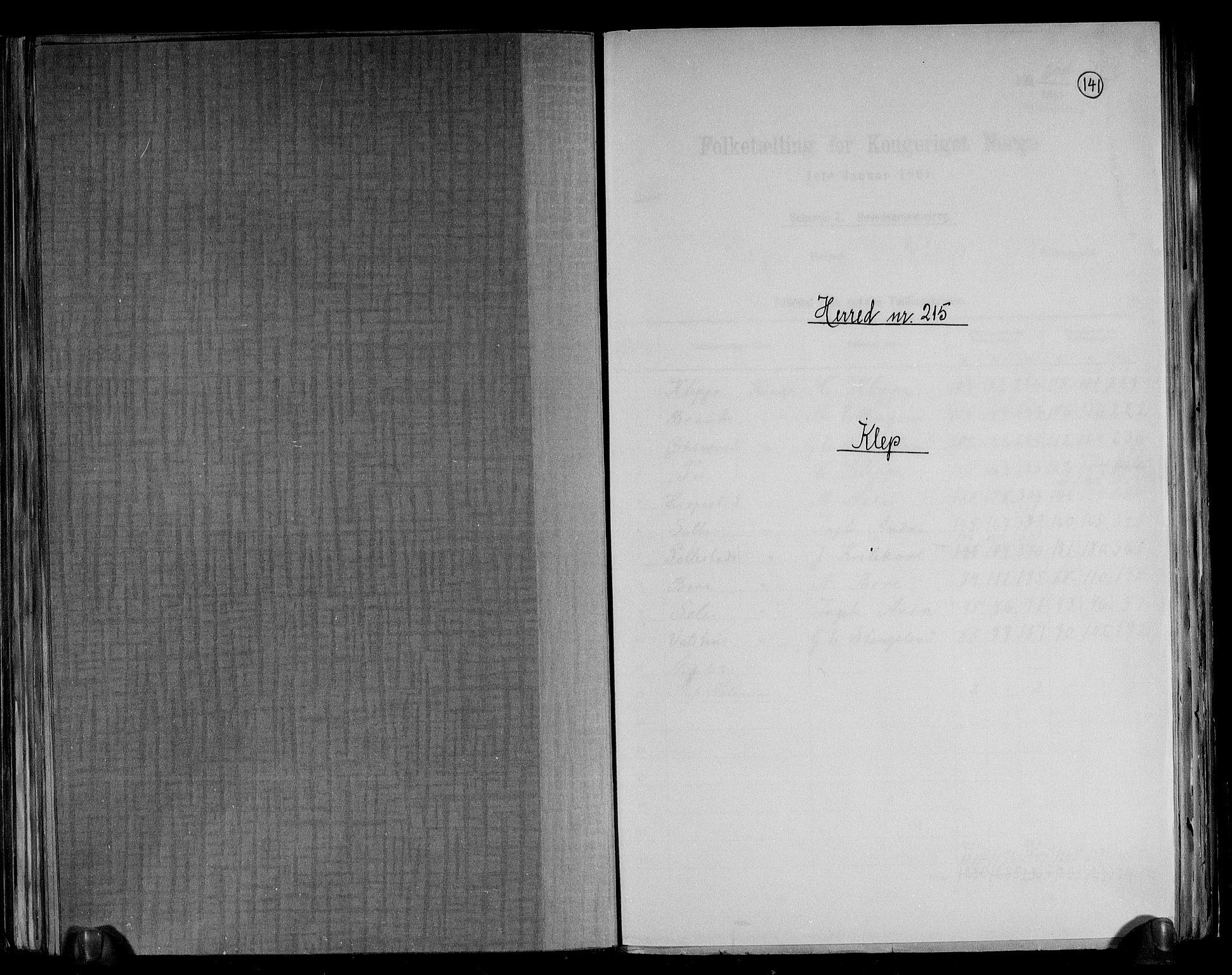 RA, Folketelling 1891 for 1120 Klepp herred, 1891, s. 1