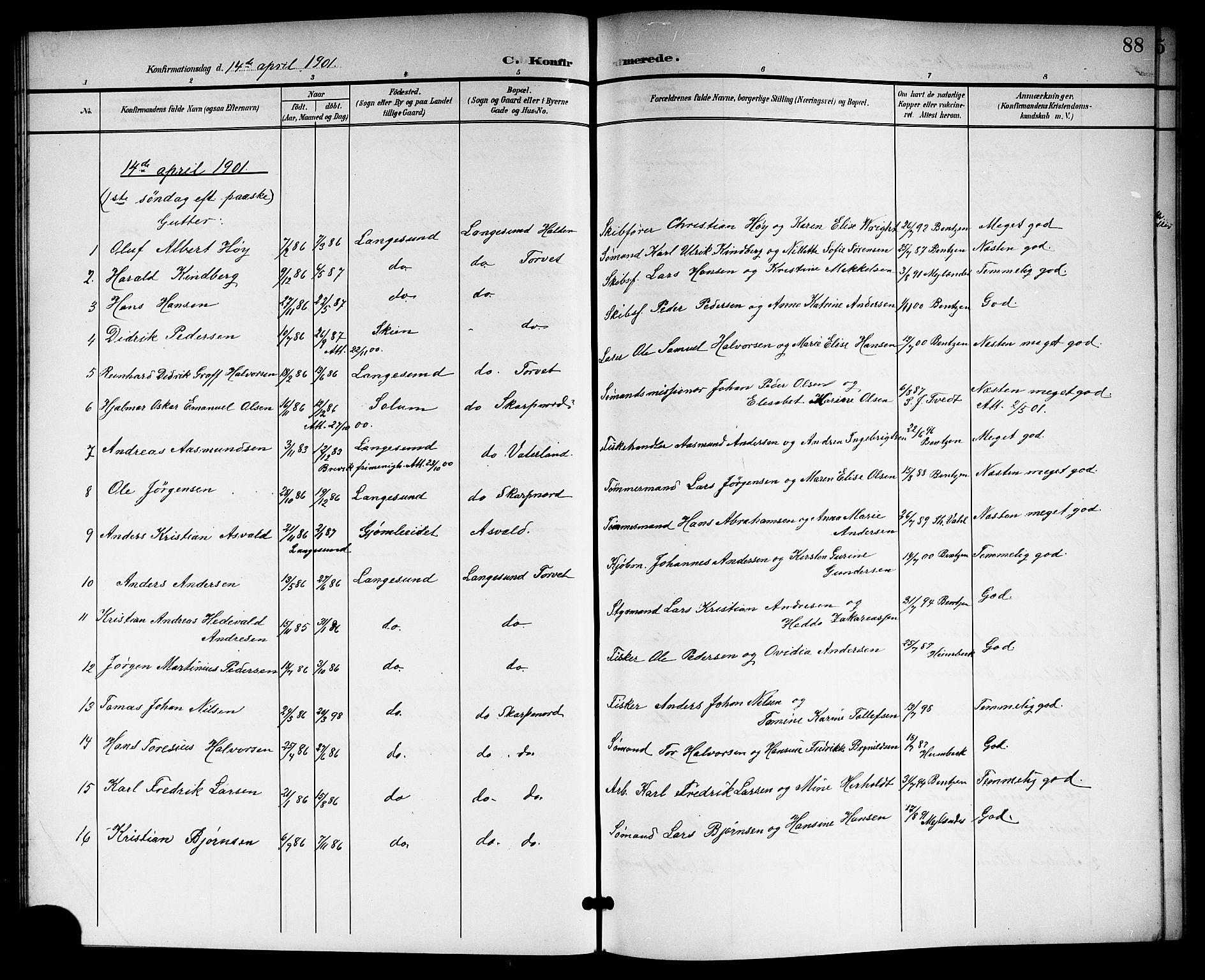 SAKO, Langesund kirkebøker, G/Ga/L0006: Klokkerbok nr. 6, 1899-1918, s. 88