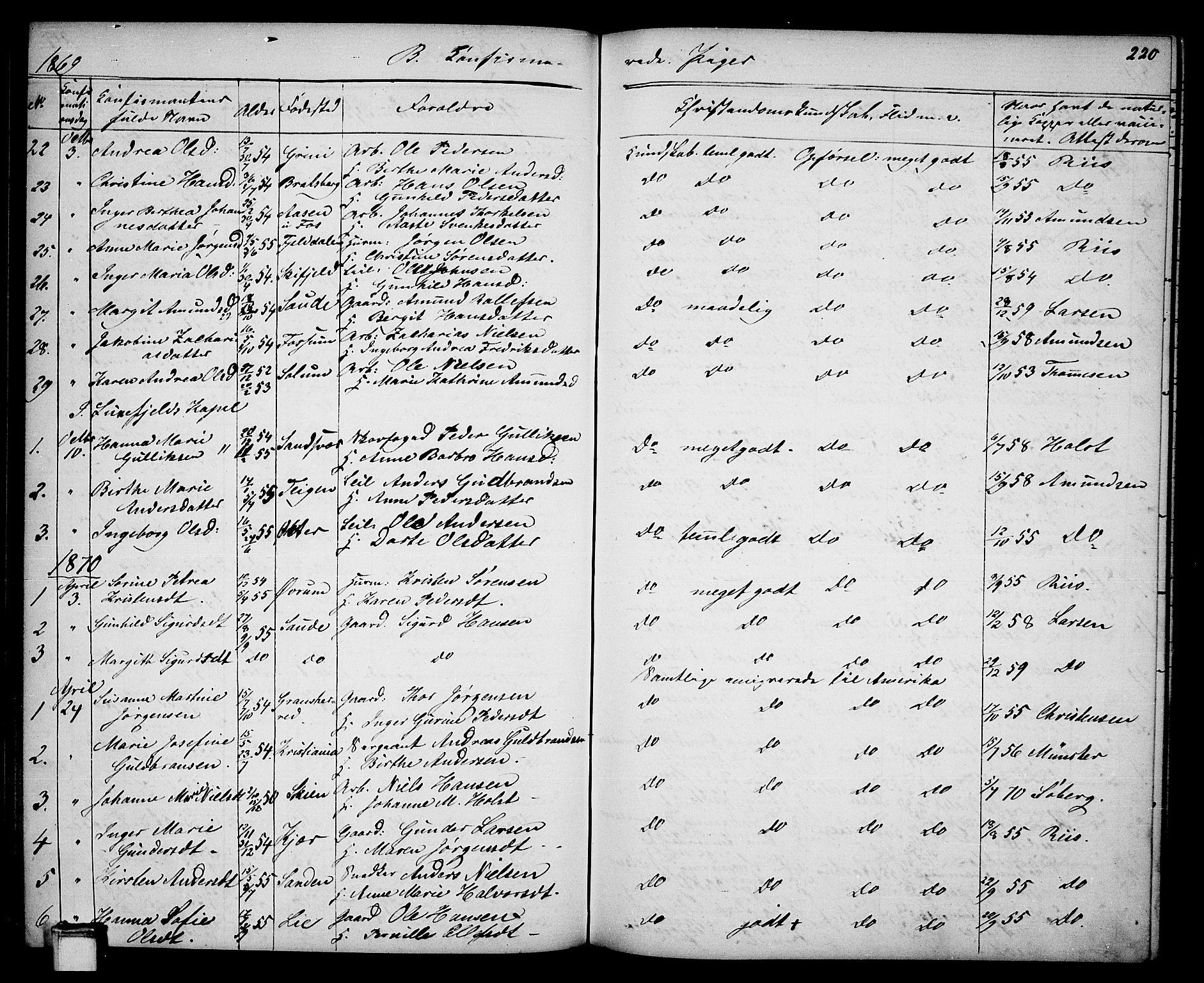 SAKO, Gjerpen kirkebøker, G/Ga/L0001: Klokkerbok nr. I 1, 1864-1882, s. 220
