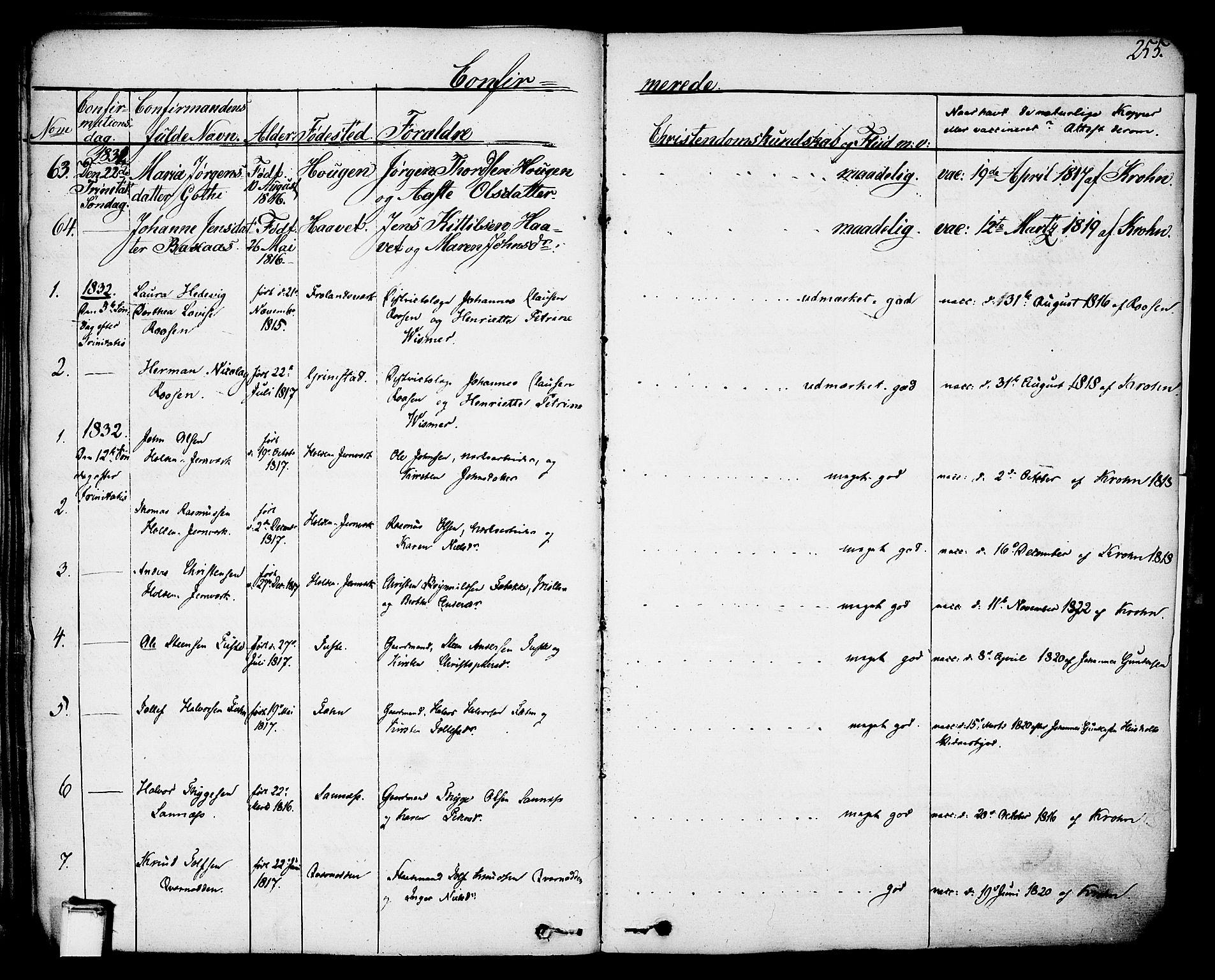 SAKO, Holla kirkebøker, F/Fa/L0004: Ministerialbok nr. 4, 1830-1848, s. 255