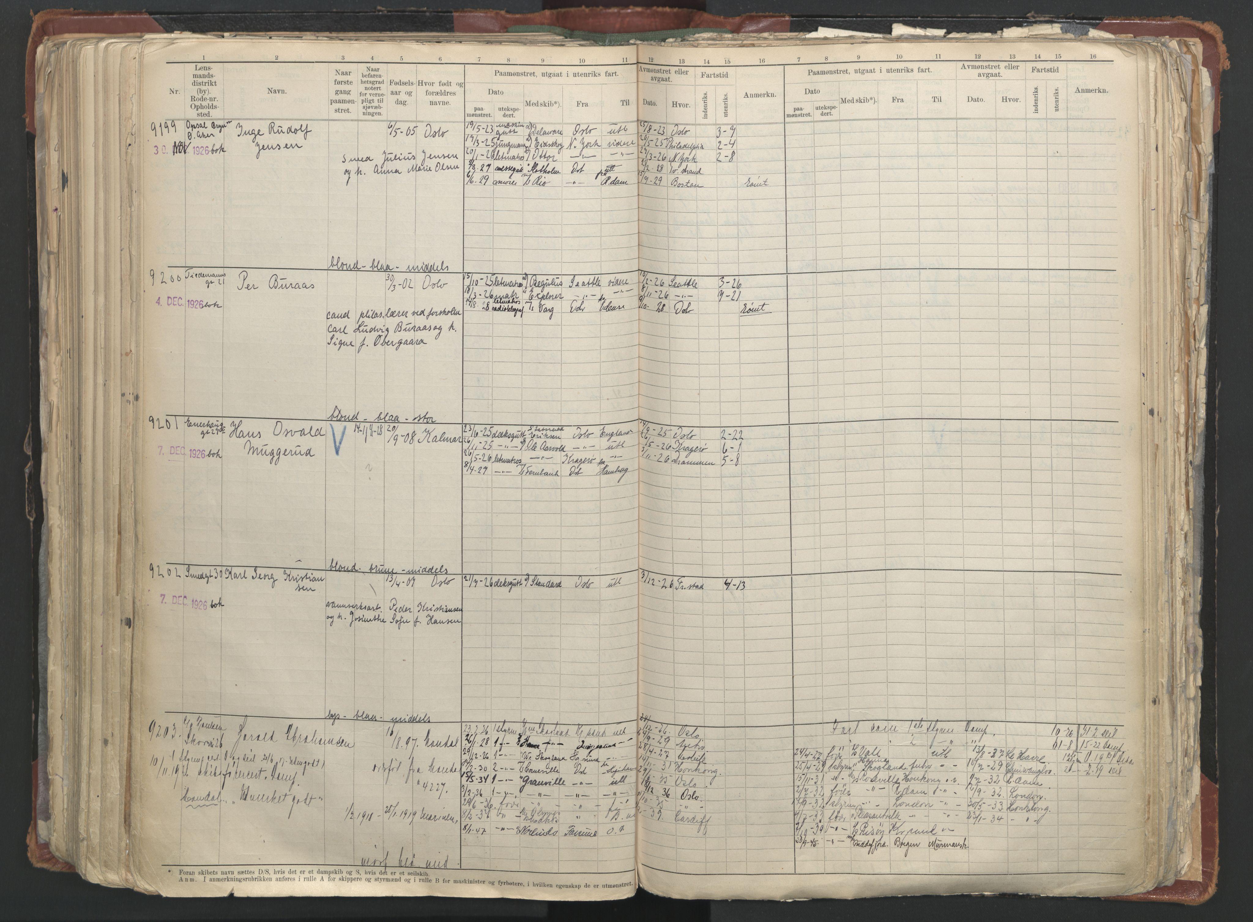SAO, Oslo sjømannskontor, F/Fc/L0006: Hovedrulle, 1918-1930, s. 333