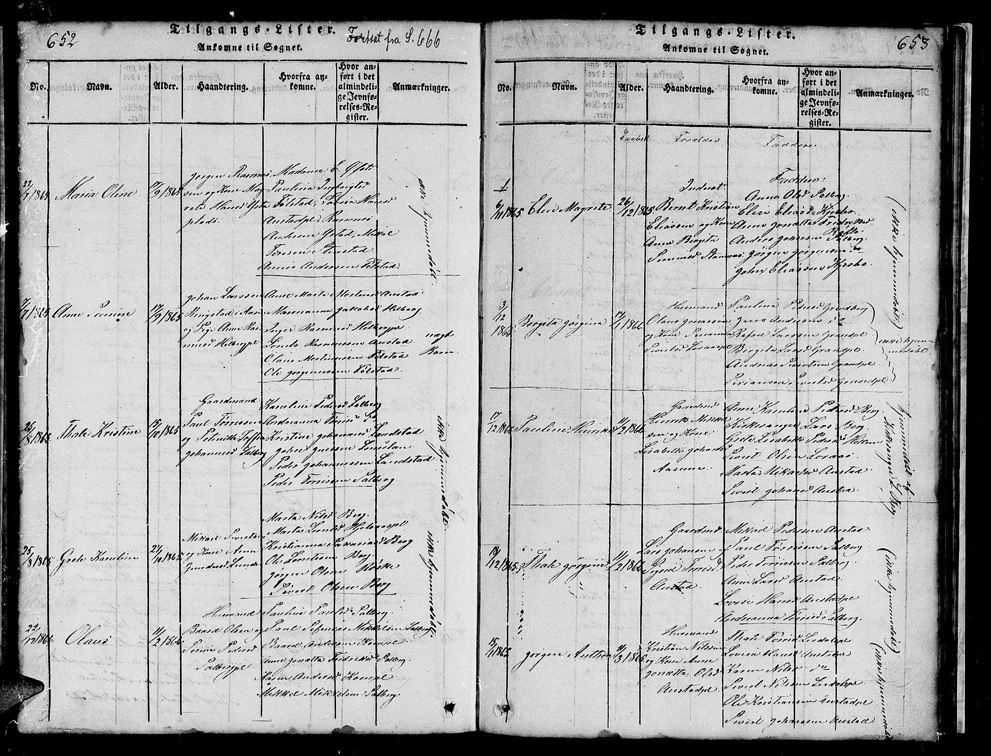 SAT, Ministerialprotokoller, klokkerbøker og fødselsregistre - Nord-Trøndelag, 731/L0310: Klokkerbok nr. 731C01, 1816-1874, s. 652-653