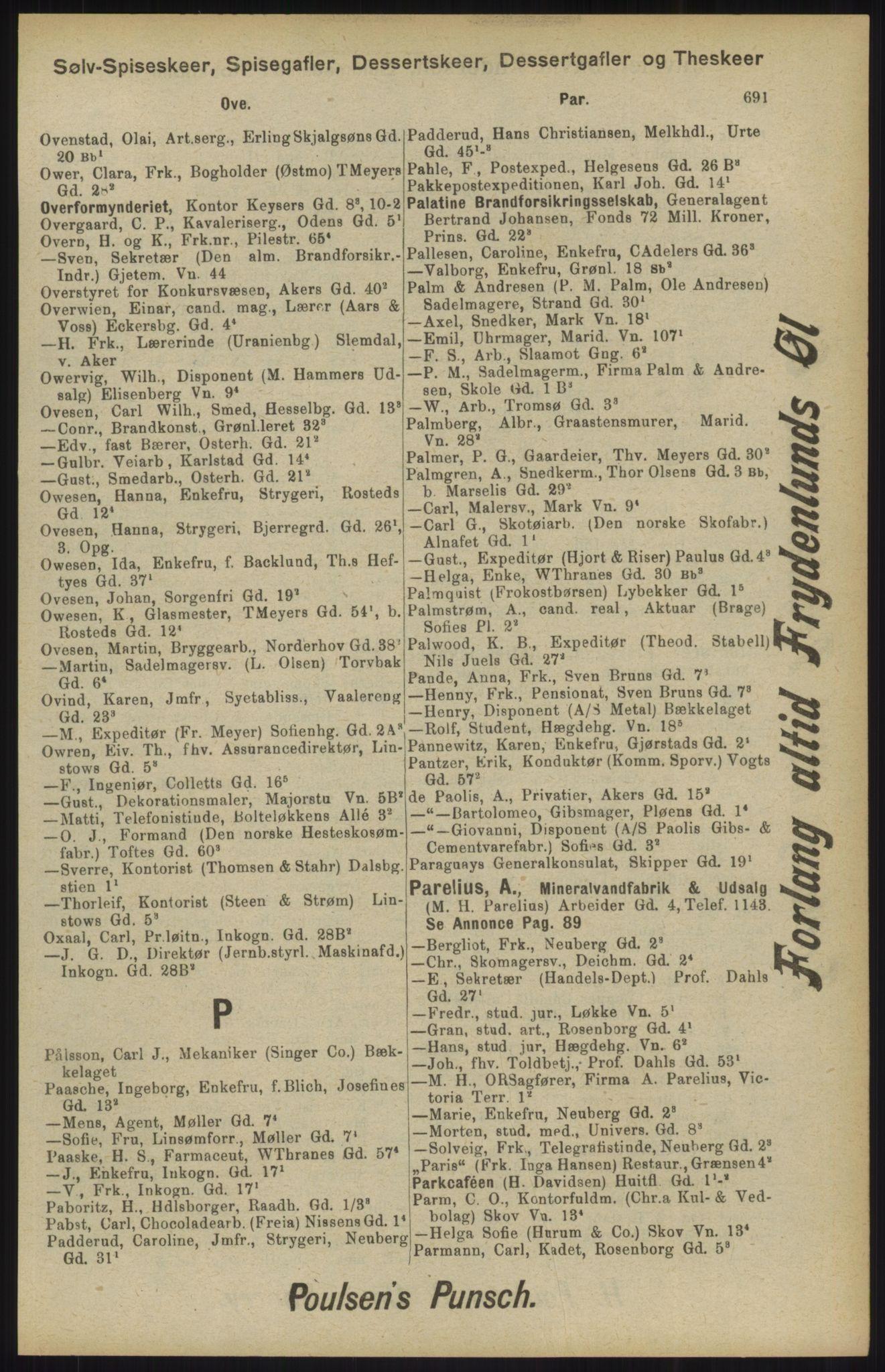 RA, Kristiania adressebok (publikasjon)*, 1904, s. 691