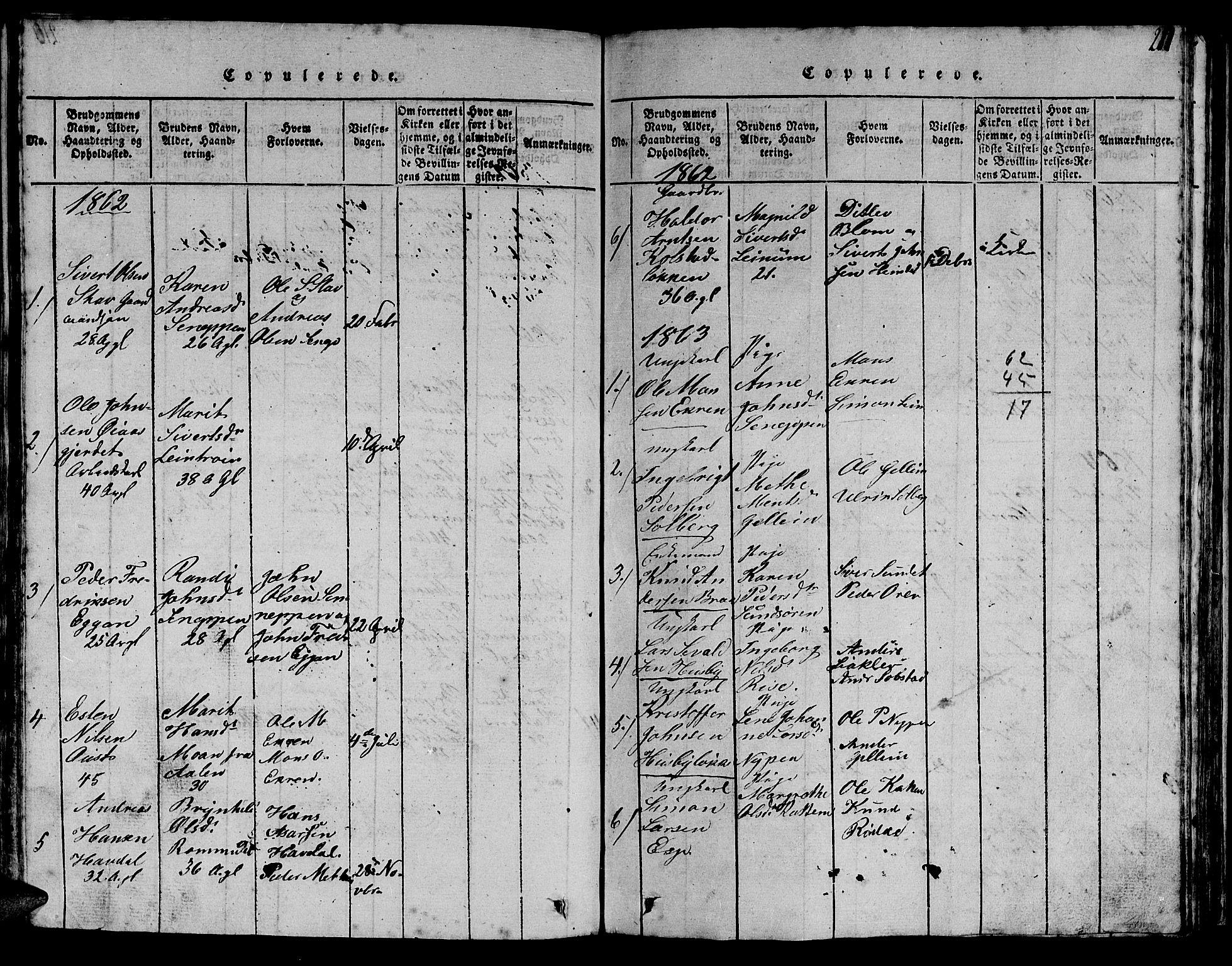 SAT, Ministerialprotokoller, klokkerbøker og fødselsregistre - Sør-Trøndelag, 613/L0393: Klokkerbok nr. 613C01, 1816-1886, s. 211