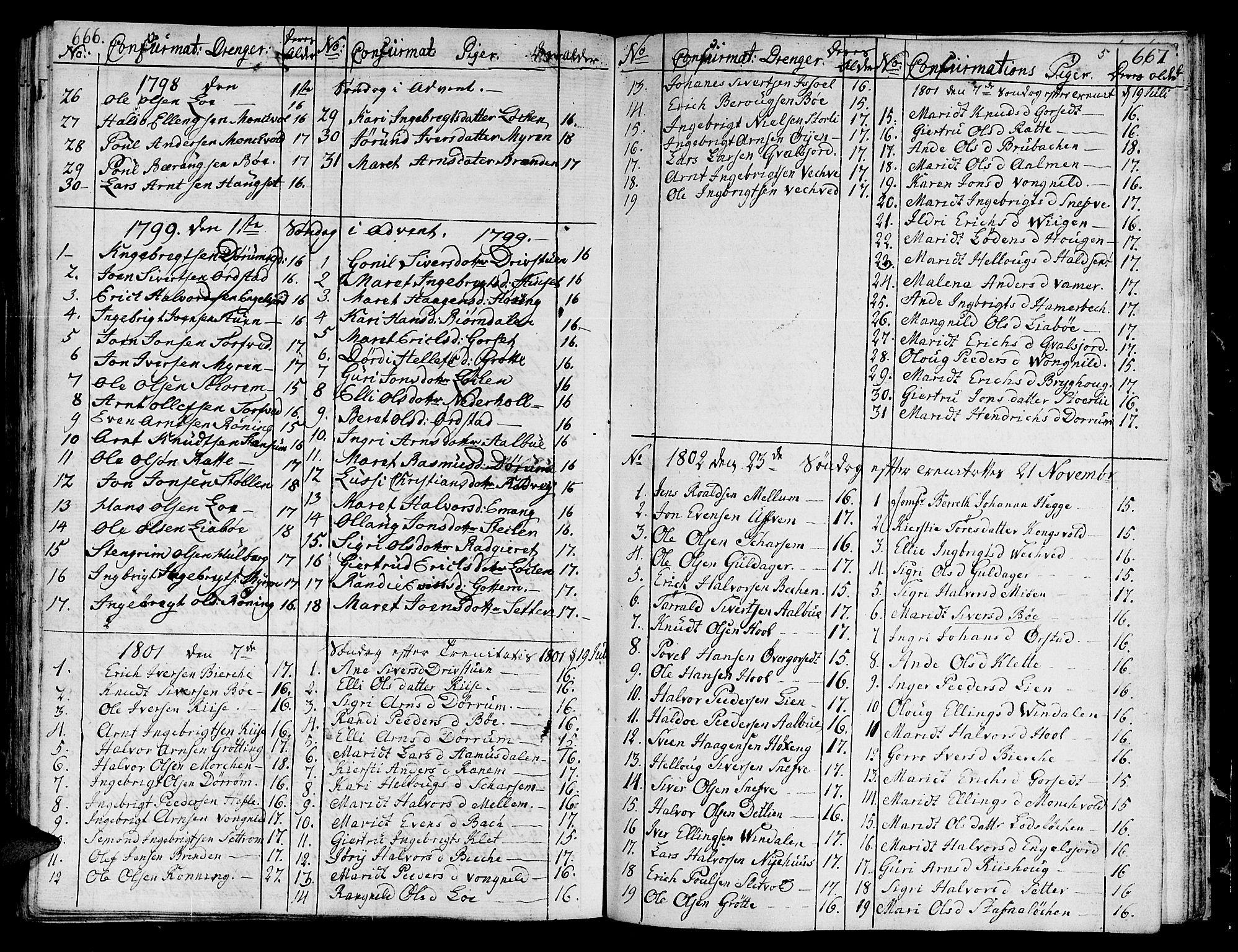SAT, Ministerialprotokoller, klokkerbøker og fødselsregistre - Sør-Trøndelag, 678/L0893: Ministerialbok nr. 678A03, 1792-1805, s. 666-667