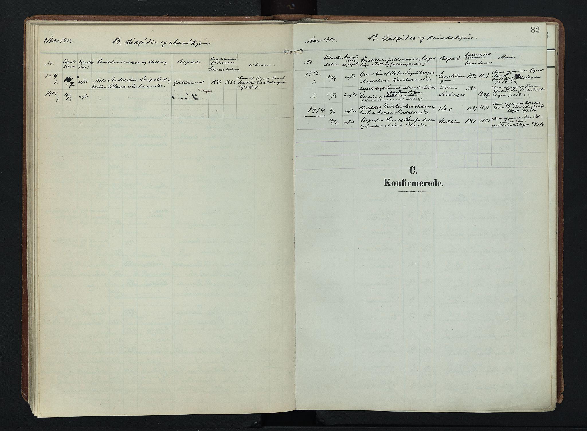 SAH, Søndre Land prestekontor, K/L0007: Ministerialbok nr. 7, 1905-1914, s. 82