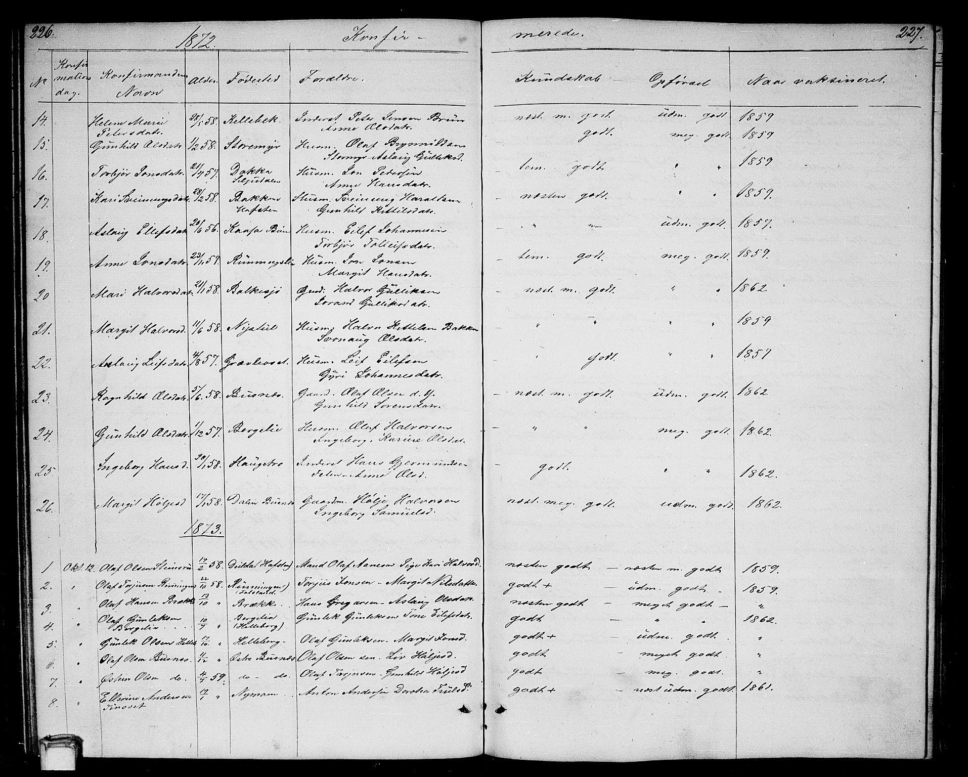SAKO, Gransherad kirkebøker, G/Ga/L0002: Klokkerbok nr. I 2, 1854-1886, s. 226-227