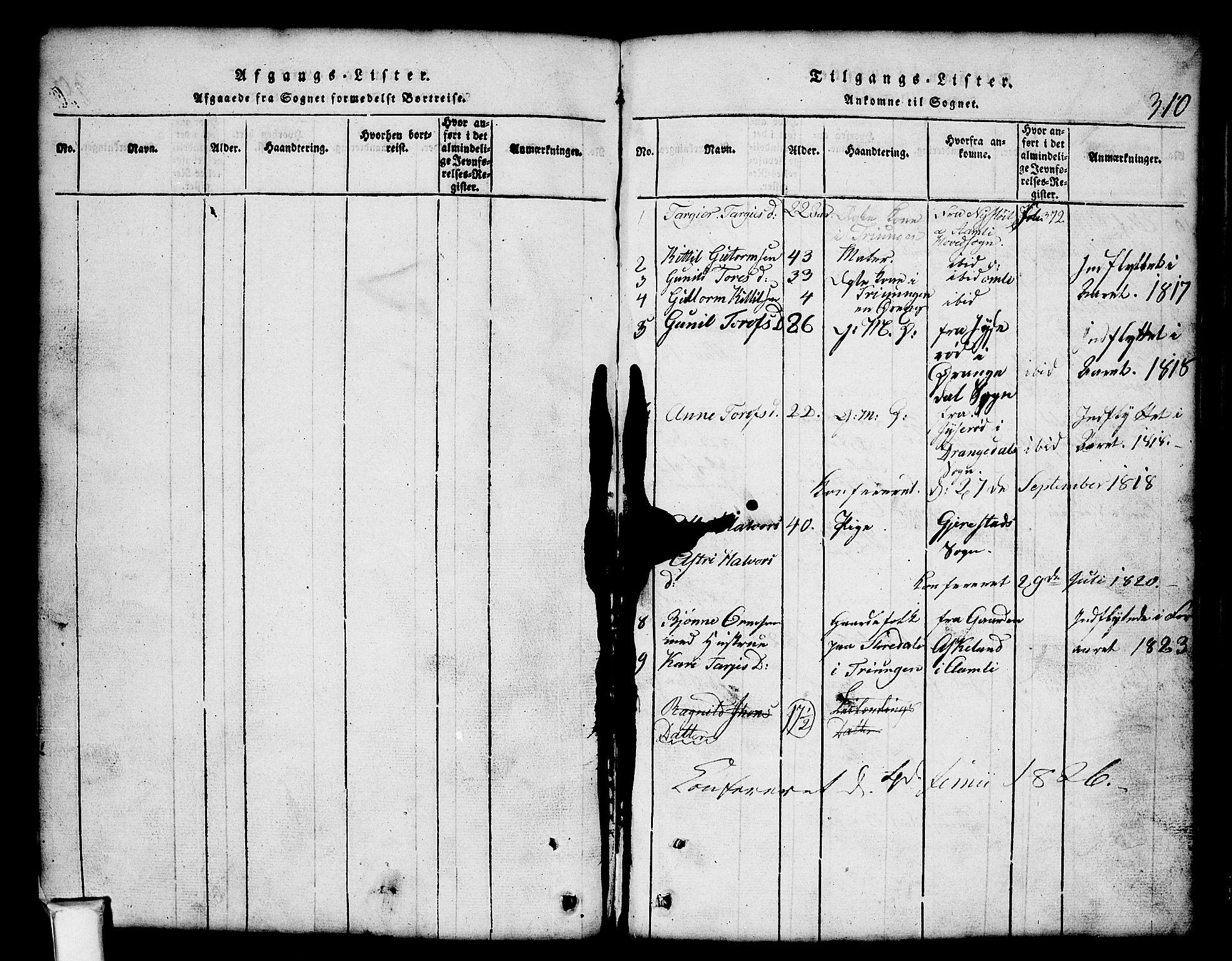 SAKO, Nissedal kirkebøker, G/Gb/L0001: Klokkerbok nr. II 1, 1814-1862, s. 310