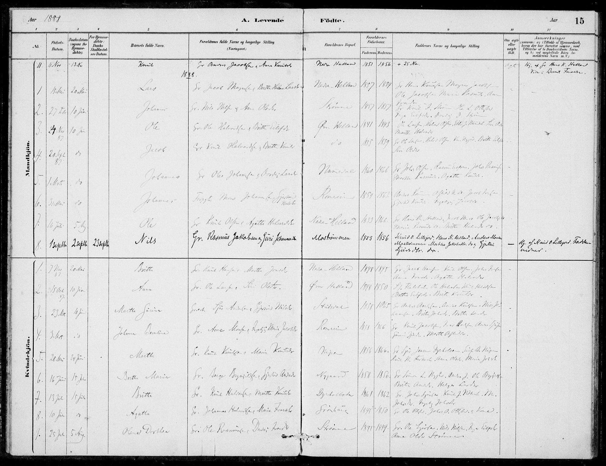 SAB, Hosanger Sokneprestembete, H/Haa: Ministerialbok nr. C  1, 1880-1900, s. 15