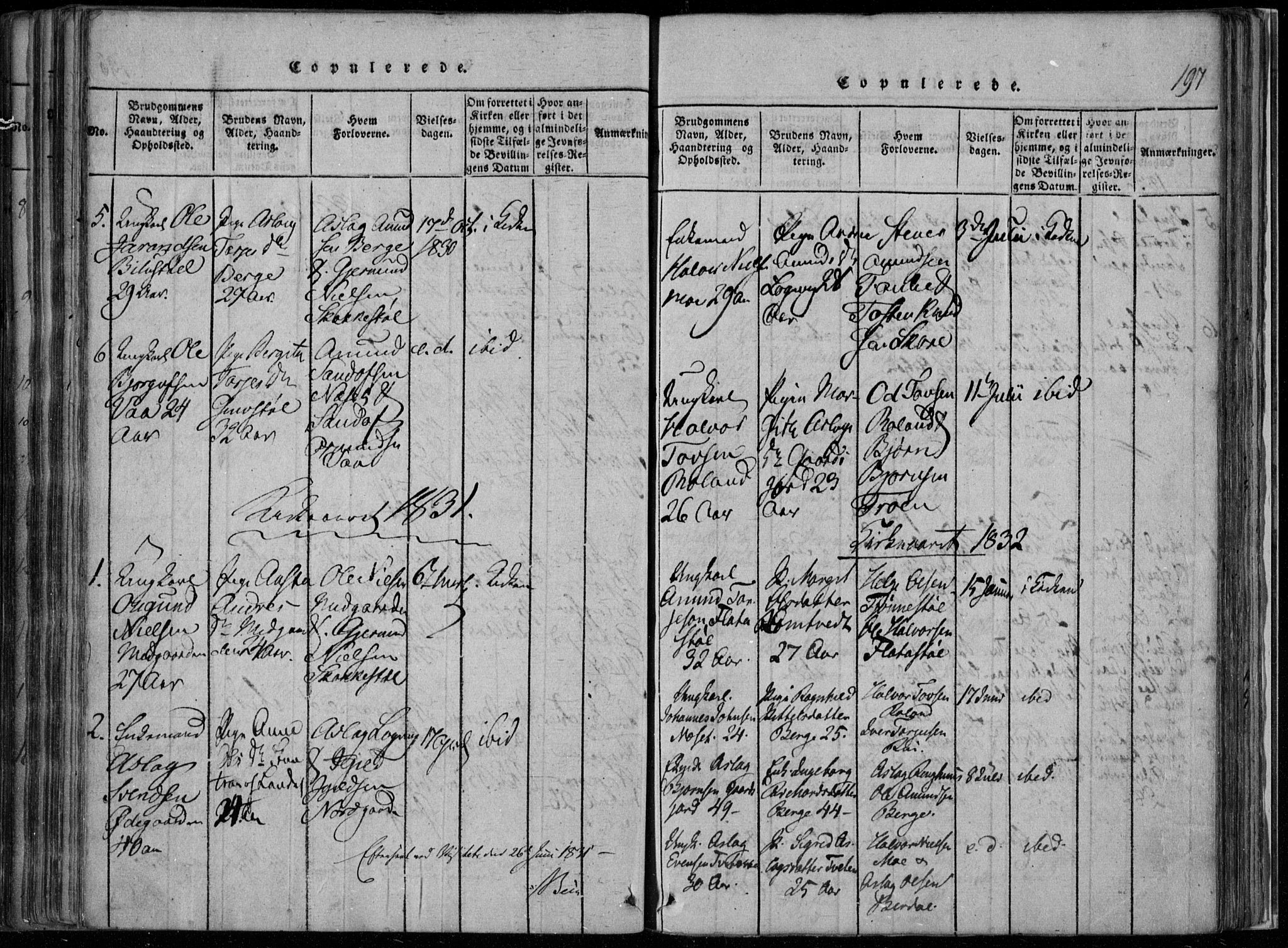 SAKO, Rauland kirkebøker, F/Fa/L0001: Ministerialbok nr. 1, 1814-1859, s. 197