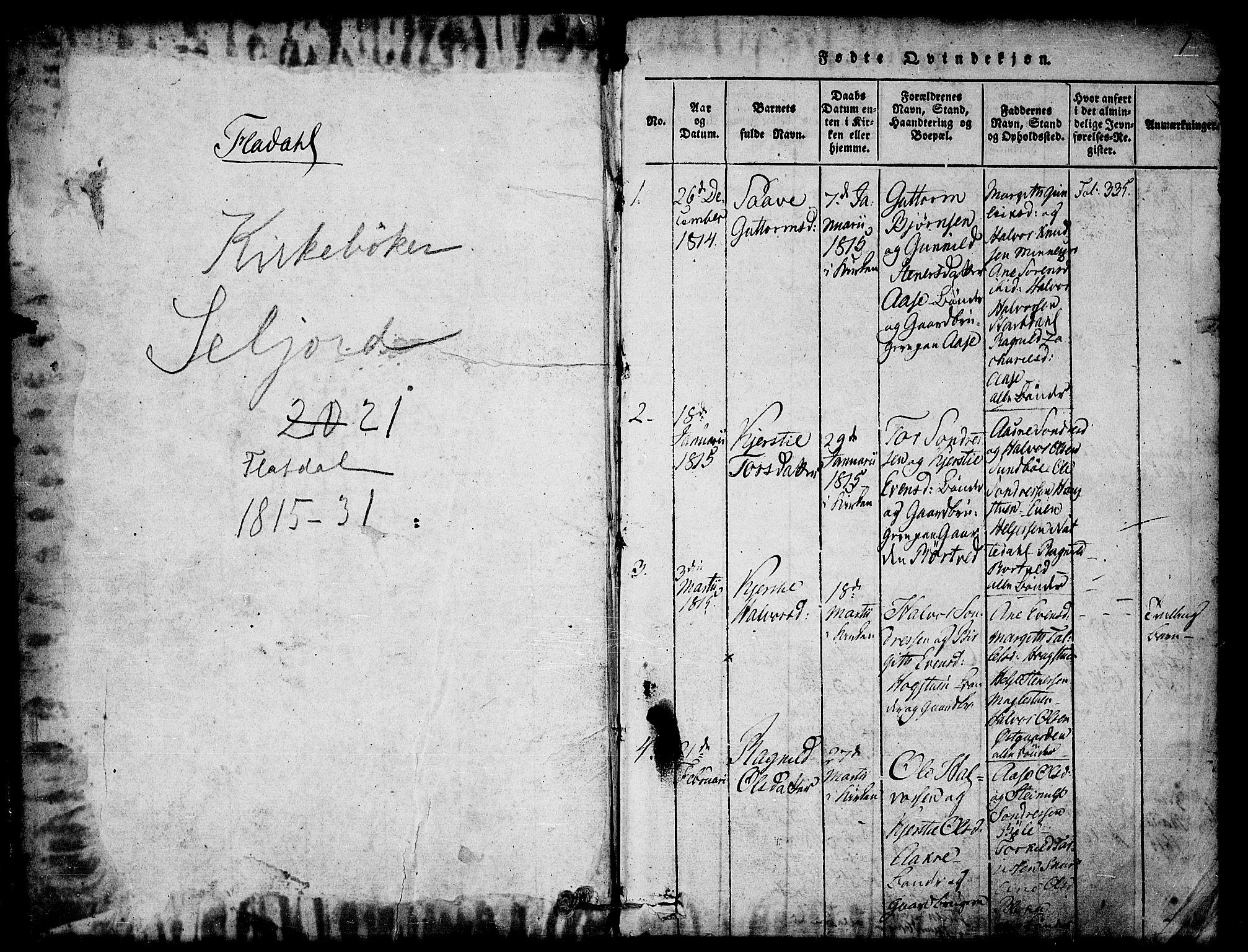 SAKO, Seljord kirkebøker, F/Fb/L0001: Ministerialbok nr. II 1, 1815-1831, s. 1