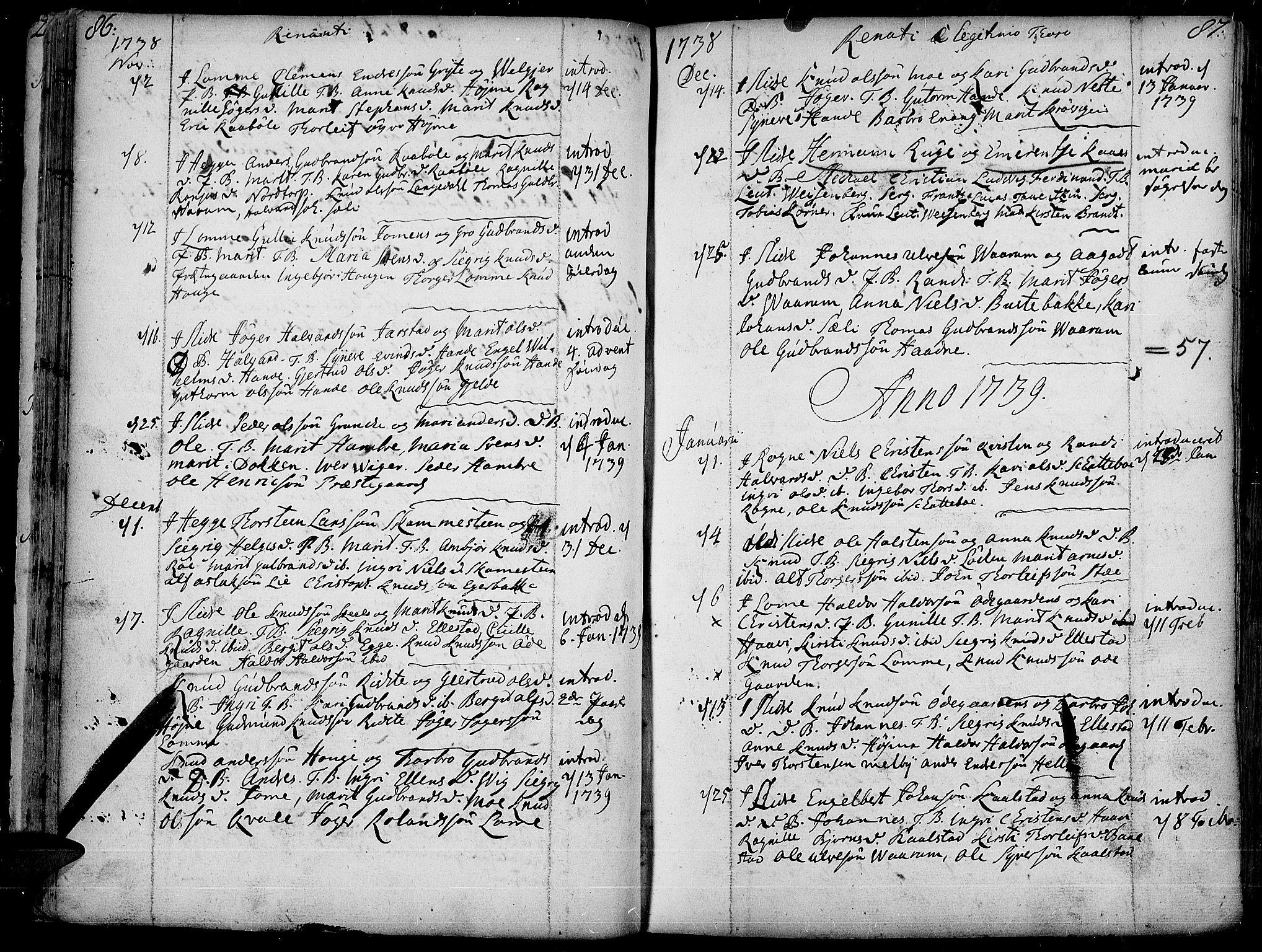 SAH, Slidre prestekontor, Ministerialbok nr. 1, 1724-1814, s. 86-87