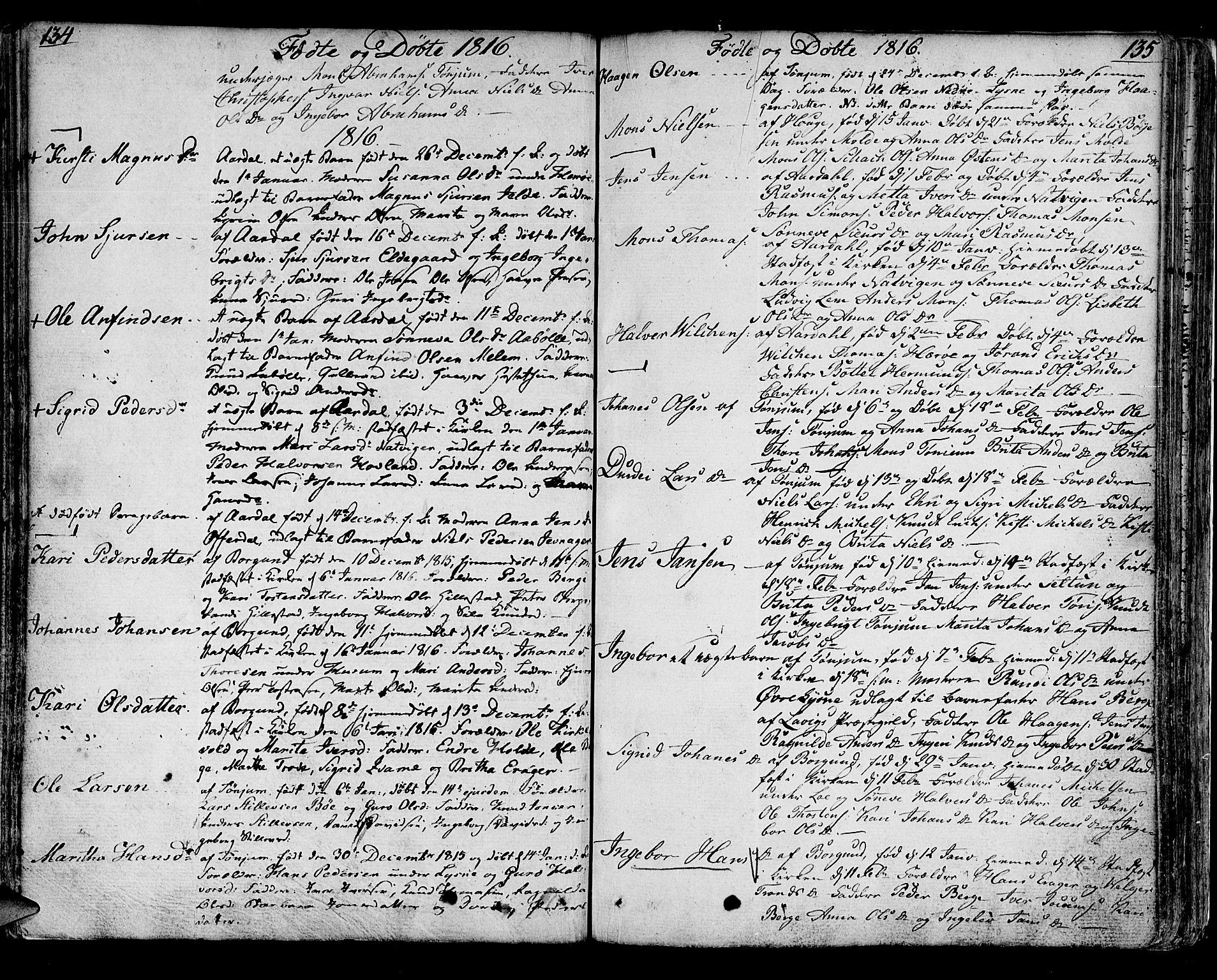 SAB, Lærdal sokneprestembete, Ministerialbok nr. A 4, 1805-1821, s. 134-135