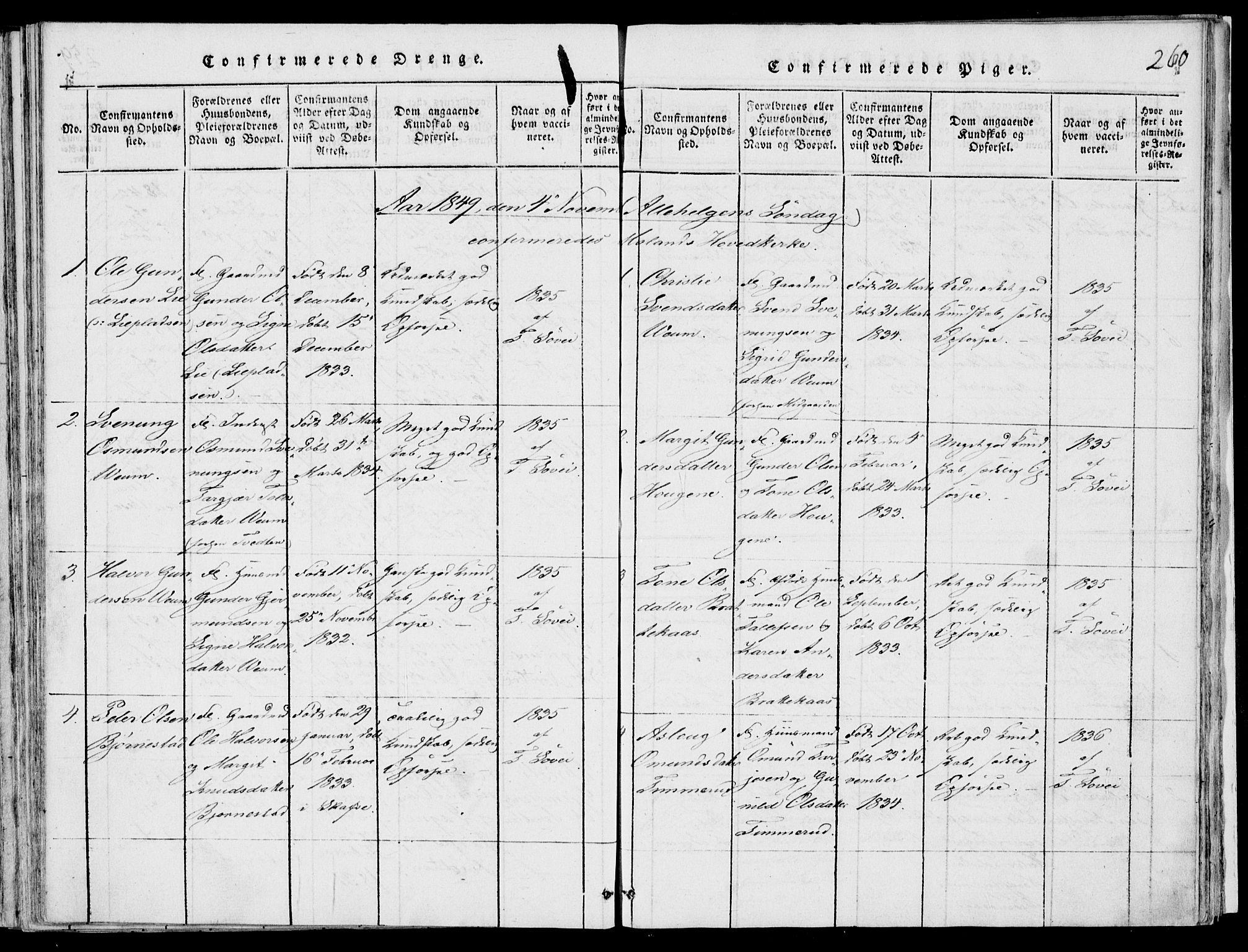 SAKO, Fyresdal kirkebøker, F/Fb/L0001: Ministerialbok nr. II 1, 1815-1854, s. 260