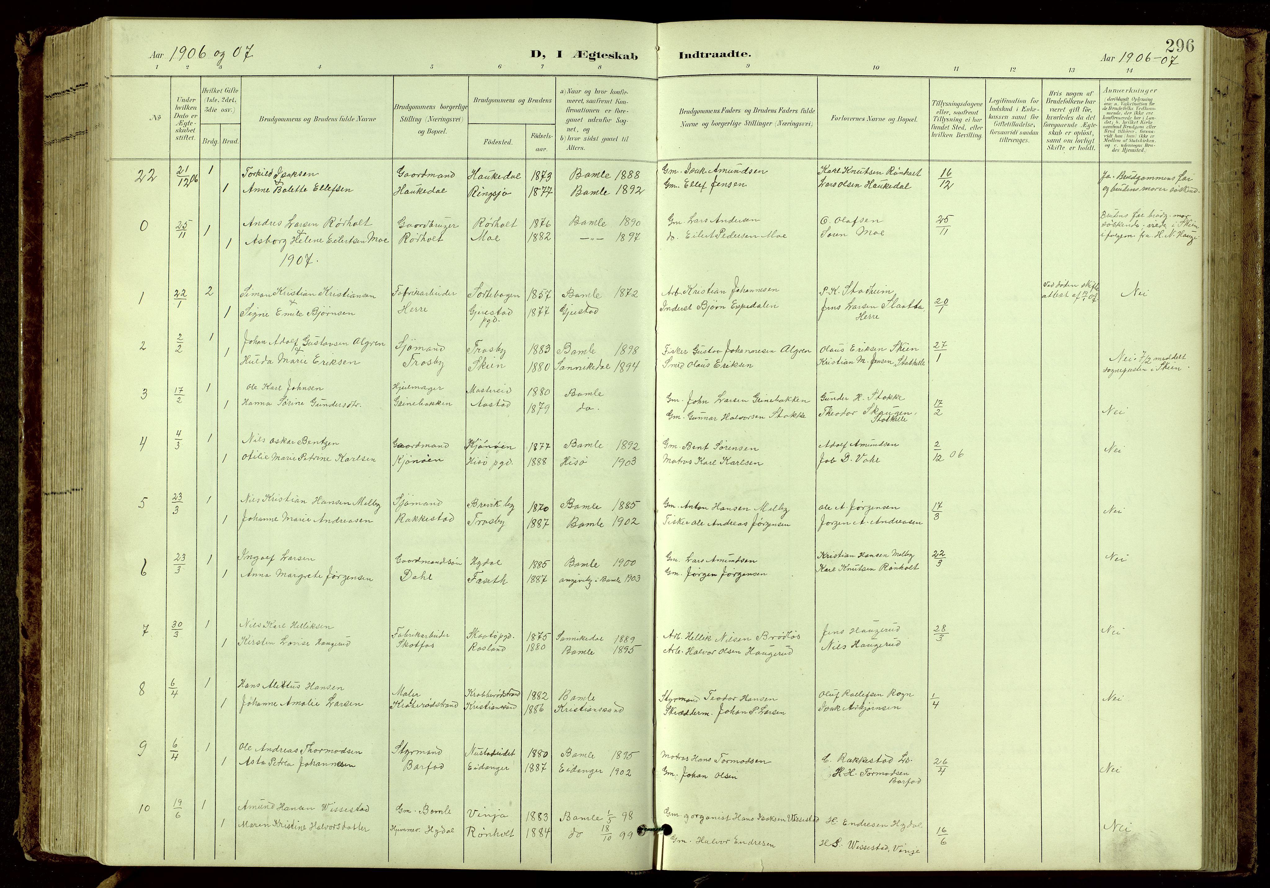 SAKO, Bamble kirkebøker, G/Ga/L0010: Klokkerbok nr. I 10, 1901-1919, s. 296