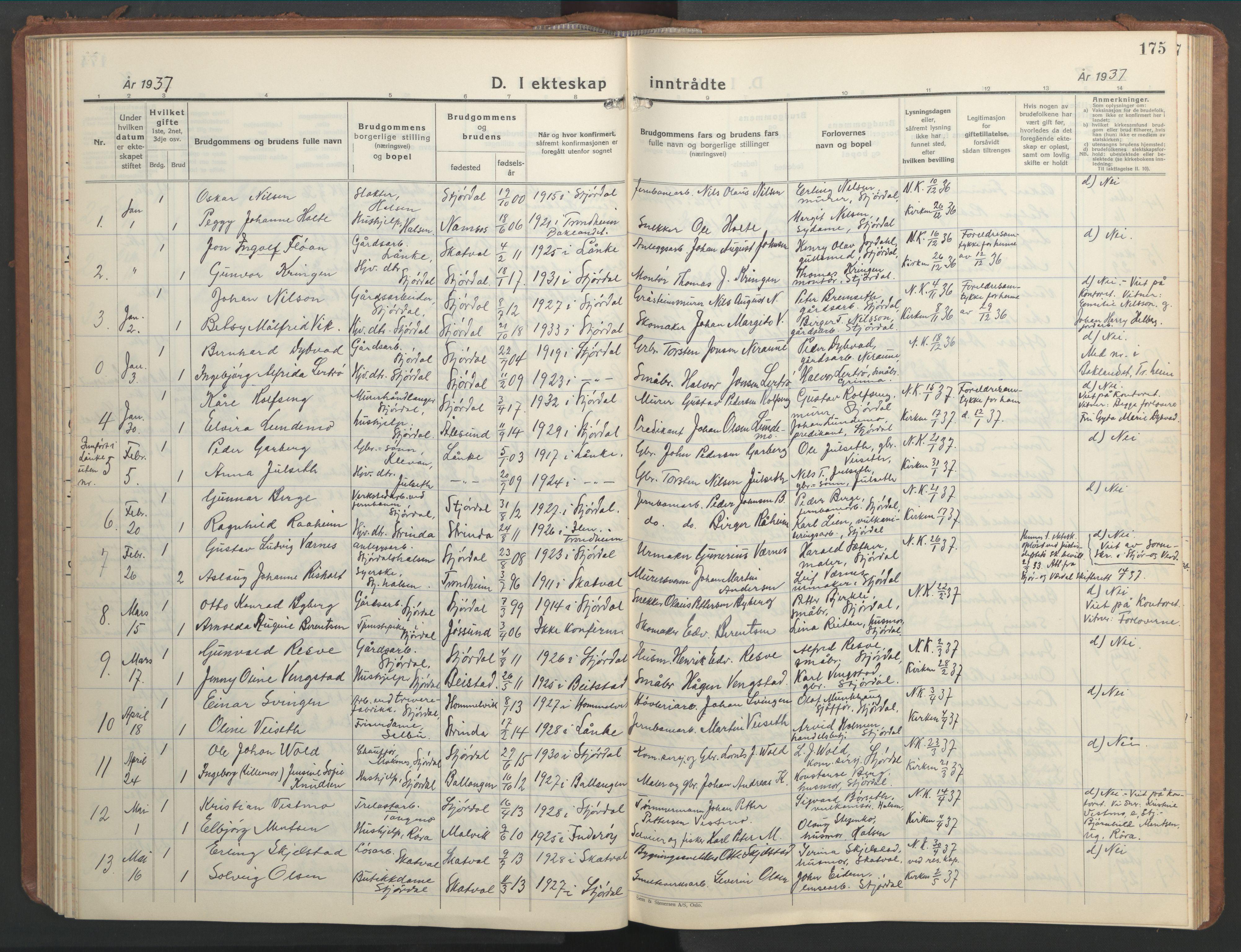 SAT, Ministerialprotokoller, klokkerbøker og fødselsregistre - Nord-Trøndelag, 709/L0089: Klokkerbok nr. 709C03, 1935-1948, s. 175