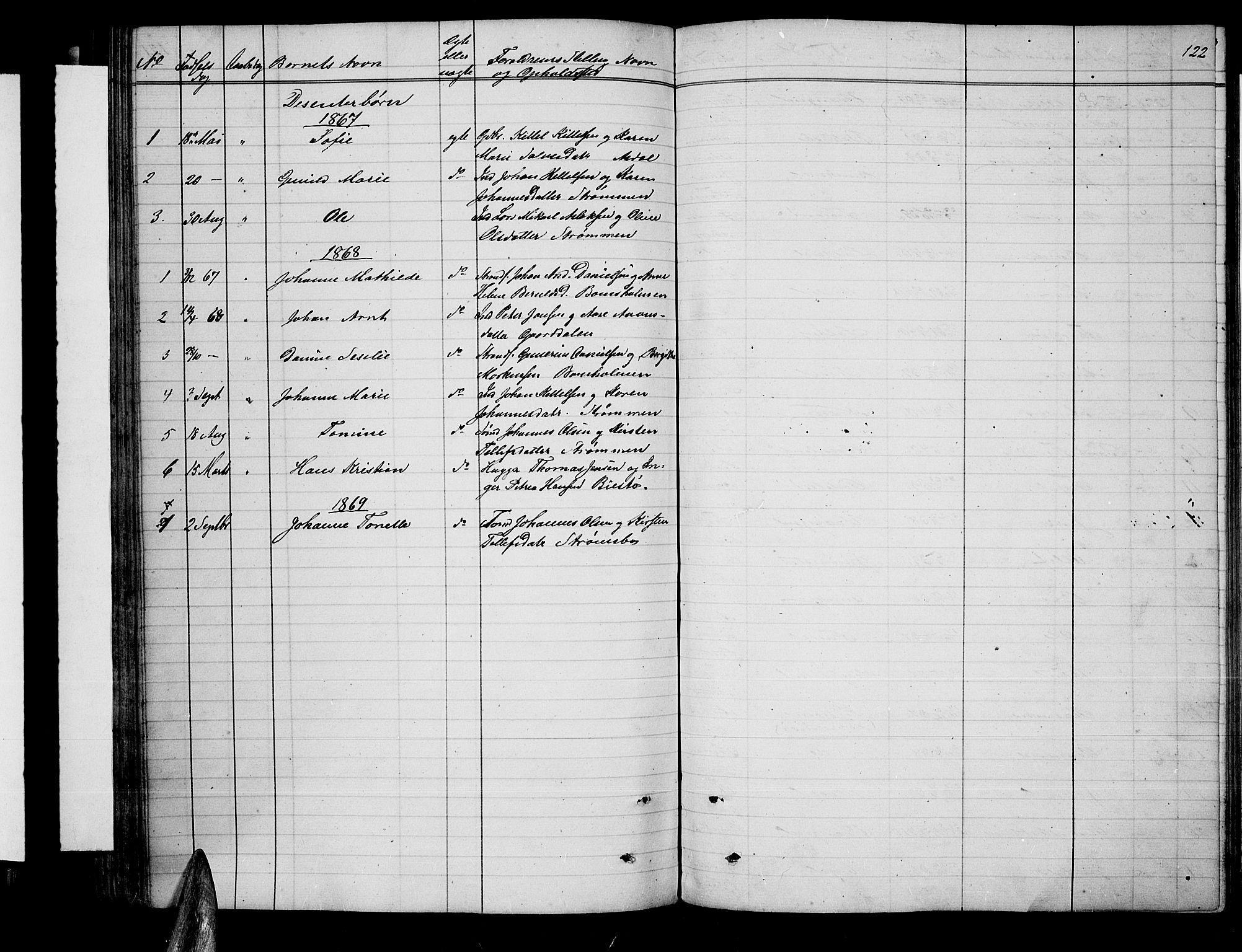 SAK, Øyestad sokneprestkontor, F/Fb/L0007: Klokkerbok nr. B 7, 1854-1872, s. 122