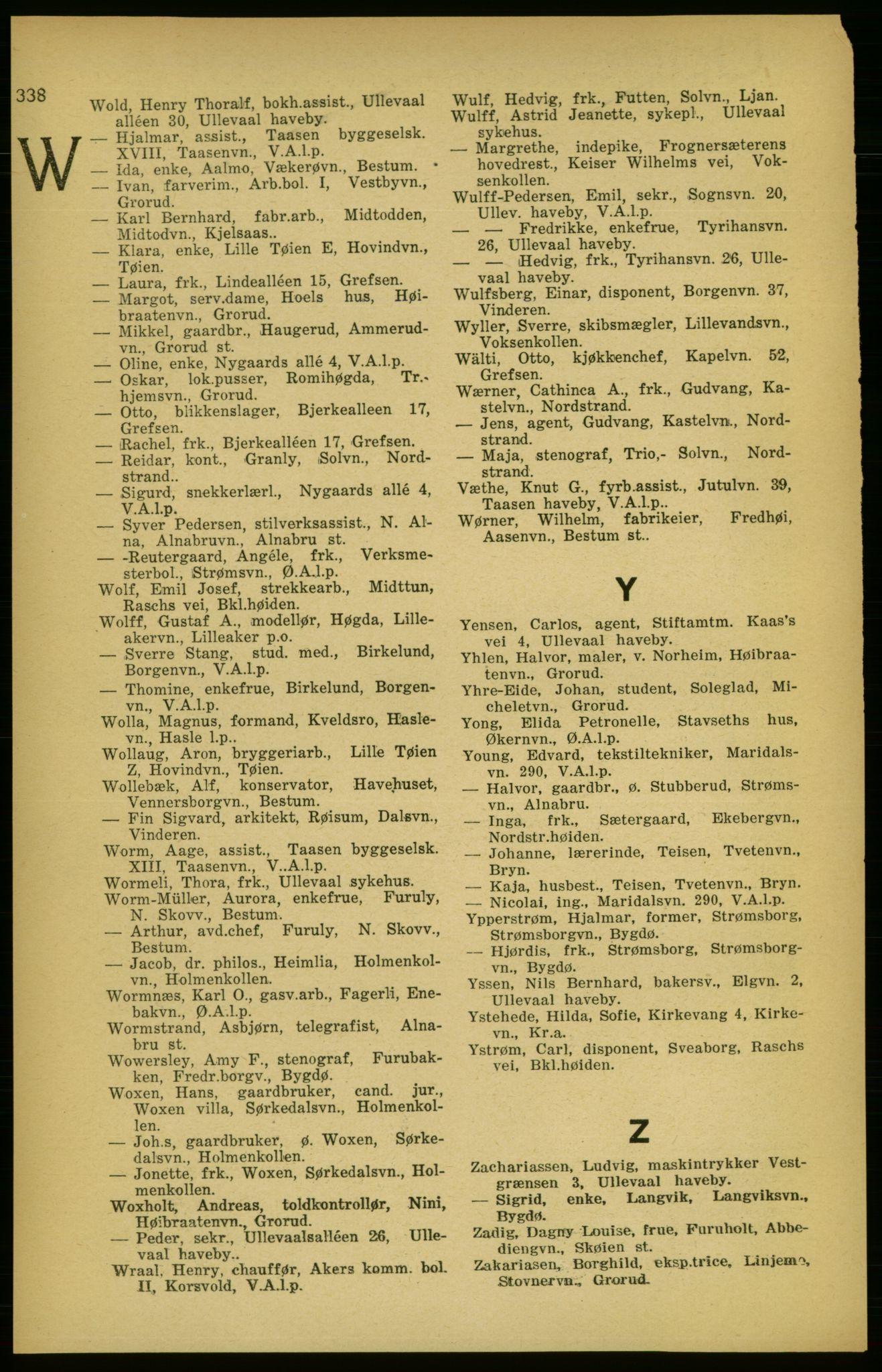 RA, Aker adressebok/adressekalender (publikasjon)*, 1924-1925, s. 338