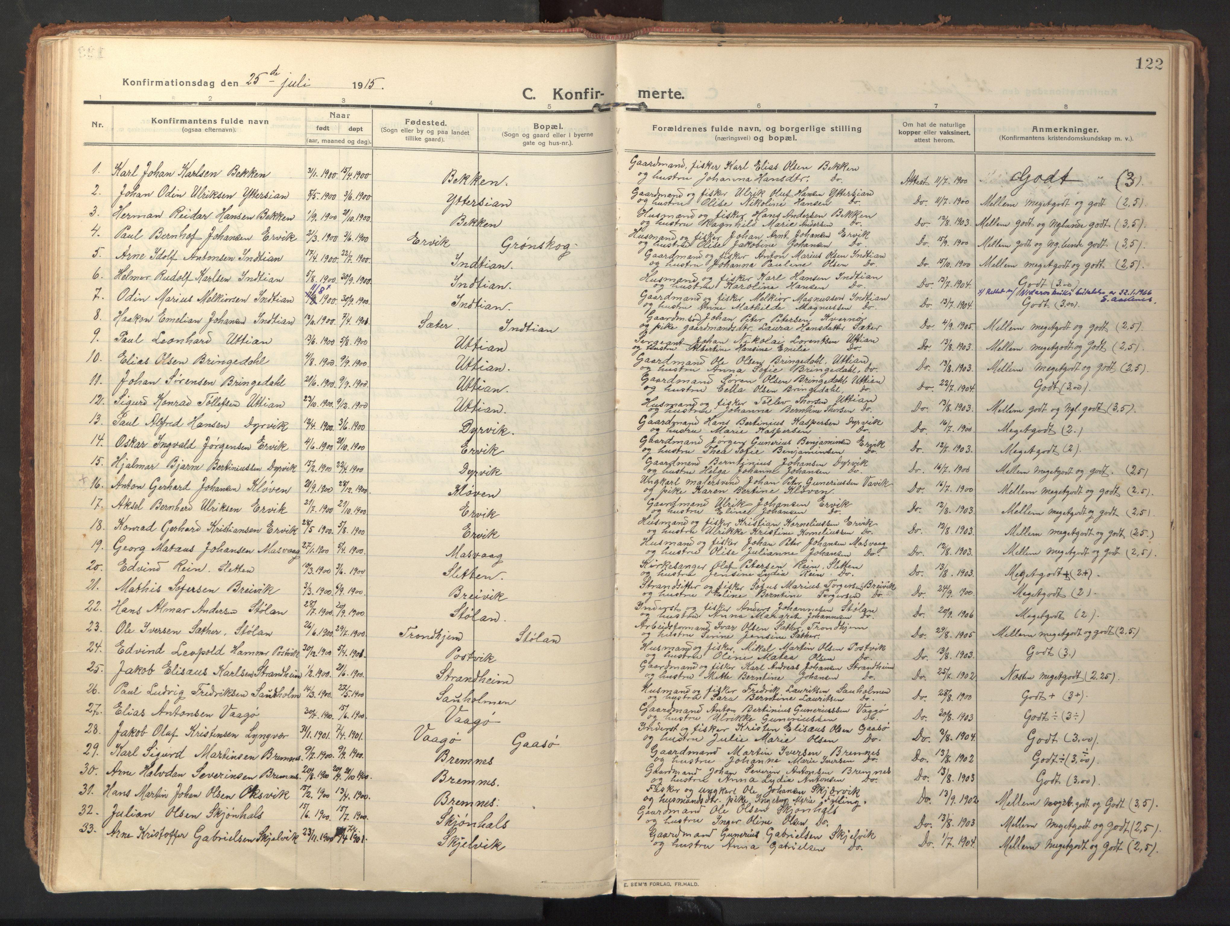 SAT, Ministerialprotokoller, klokkerbøker og fødselsregistre - Sør-Trøndelag, 640/L0581: Ministerialbok nr. 640A06, 1910-1924, s. 122
