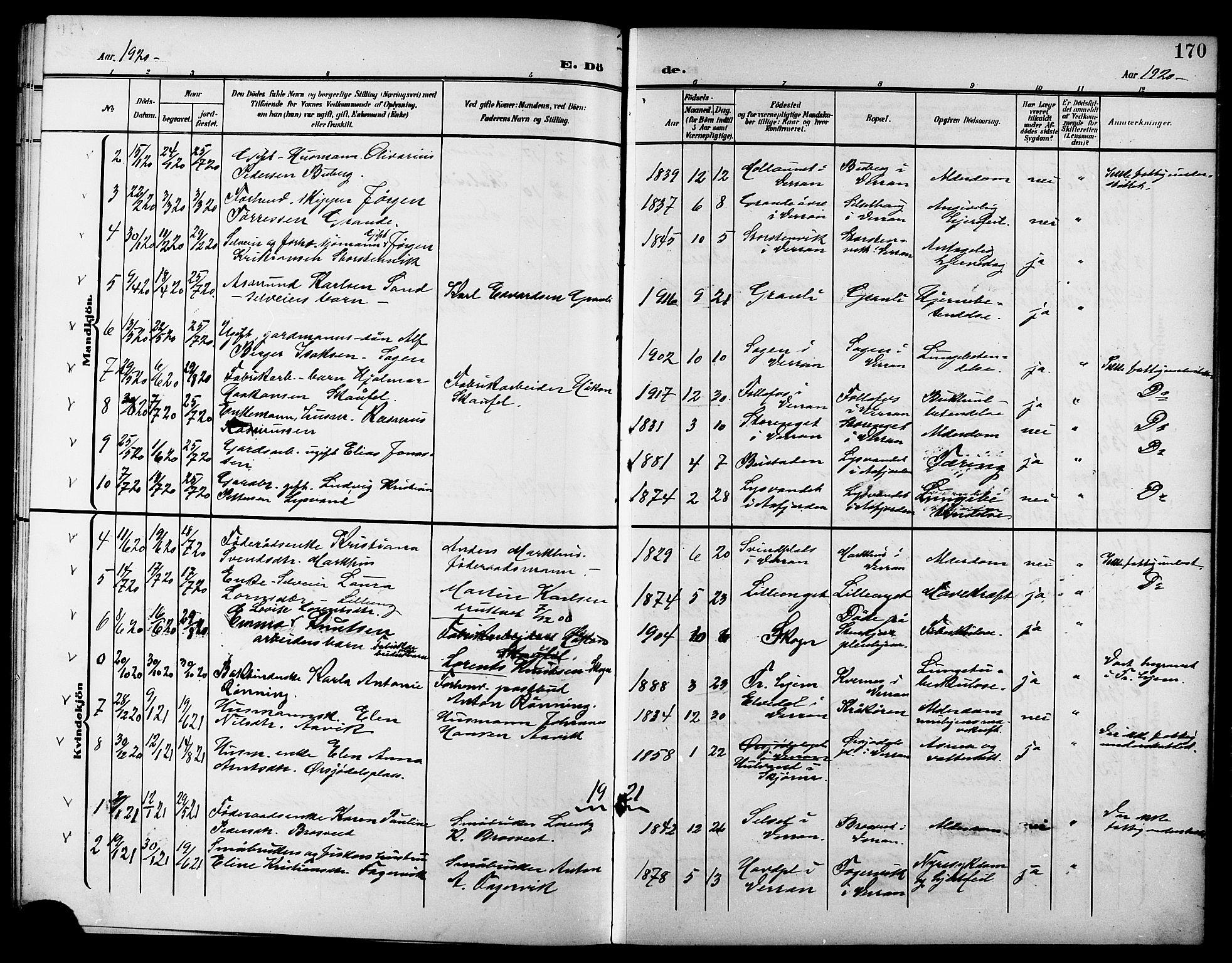 SAT, Ministerialprotokoller, klokkerbøker og fødselsregistre - Nord-Trøndelag, 744/L0424: Klokkerbok nr. 744C03, 1906-1923, s. 170