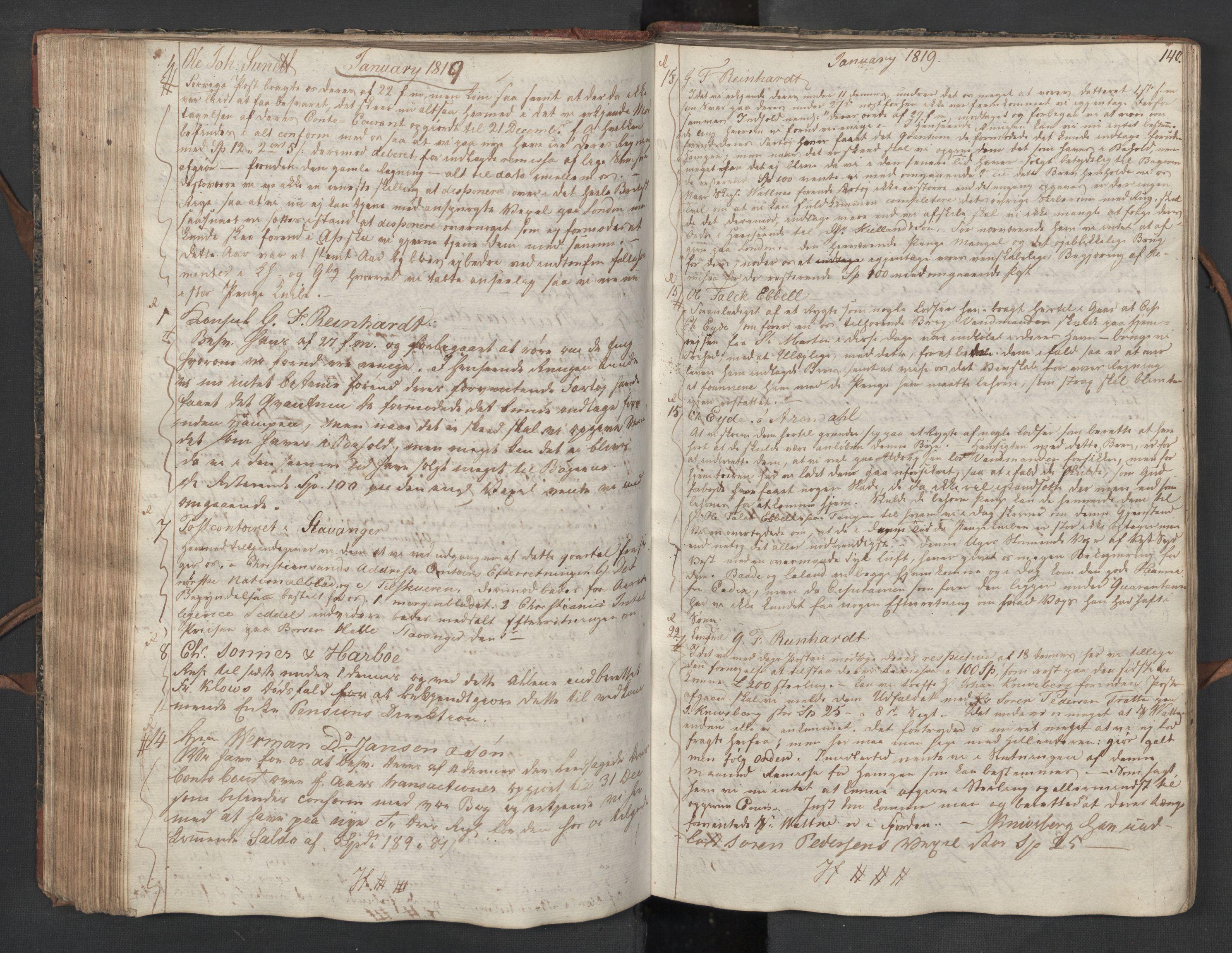 SAST, Pa 0003 - Ploug & Sundt, handelshuset, B/L0010: Kopibok, 1816-1822, s. 139b-140a