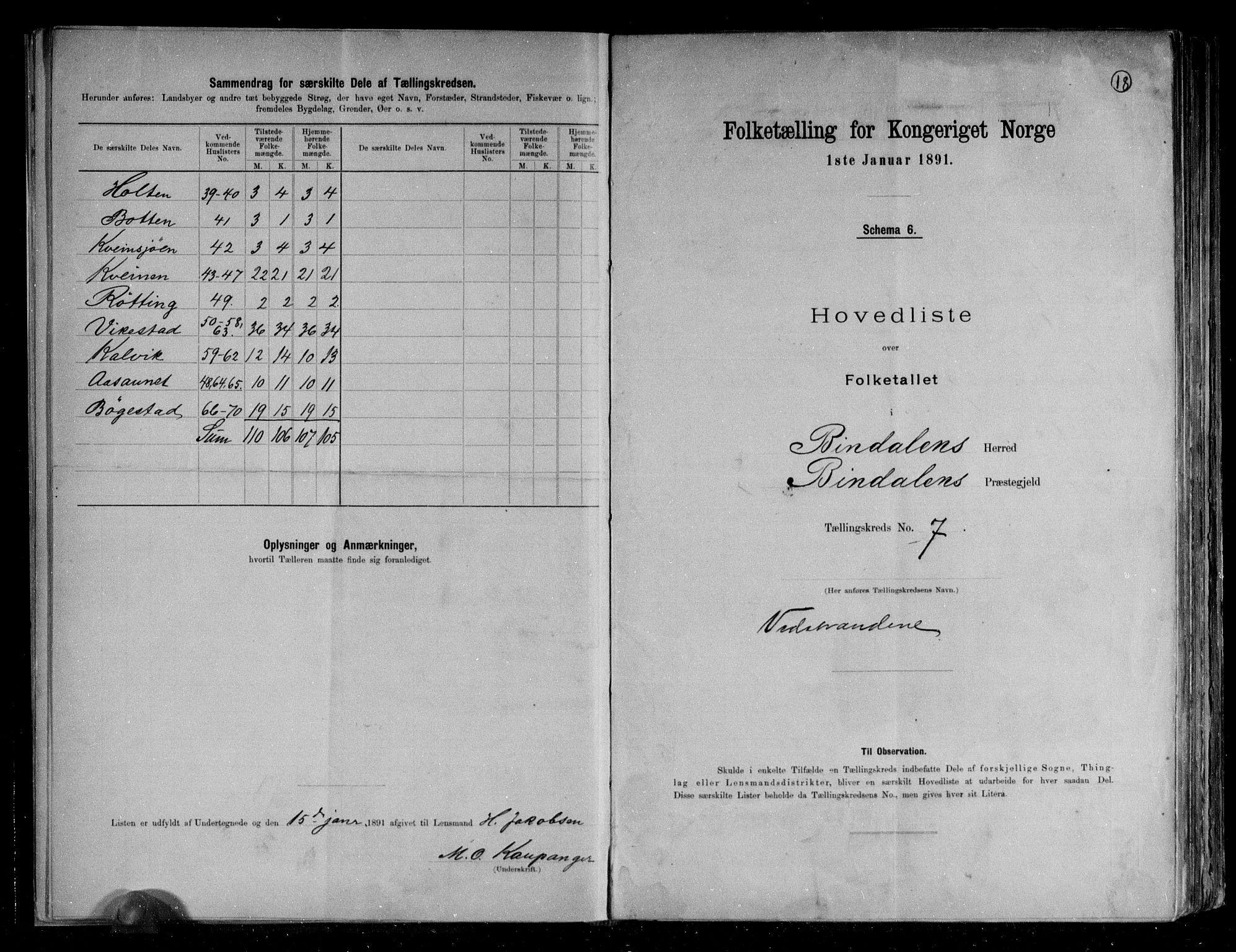 RA, Folketelling 1891 for 1811 Bindal herred, 1891, s. 19
