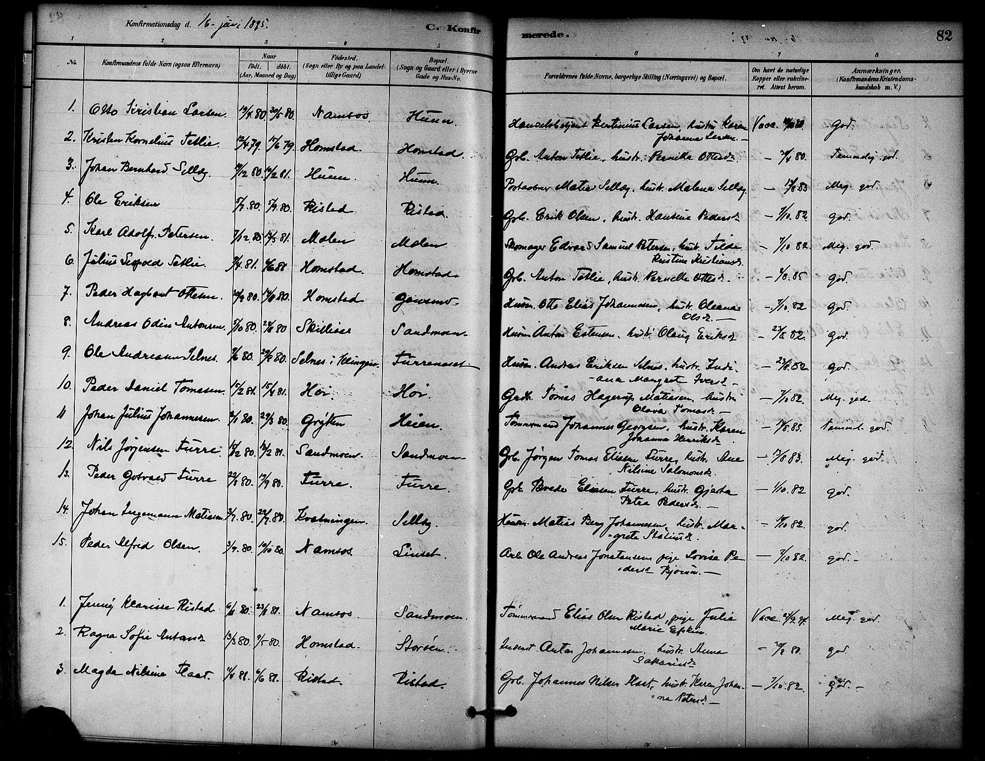 SAT, Ministerialprotokoller, klokkerbøker og fødselsregistre - Nord-Trøndelag, 766/L0563: Ministerialbok nr. 767A01, 1881-1899, s. 82