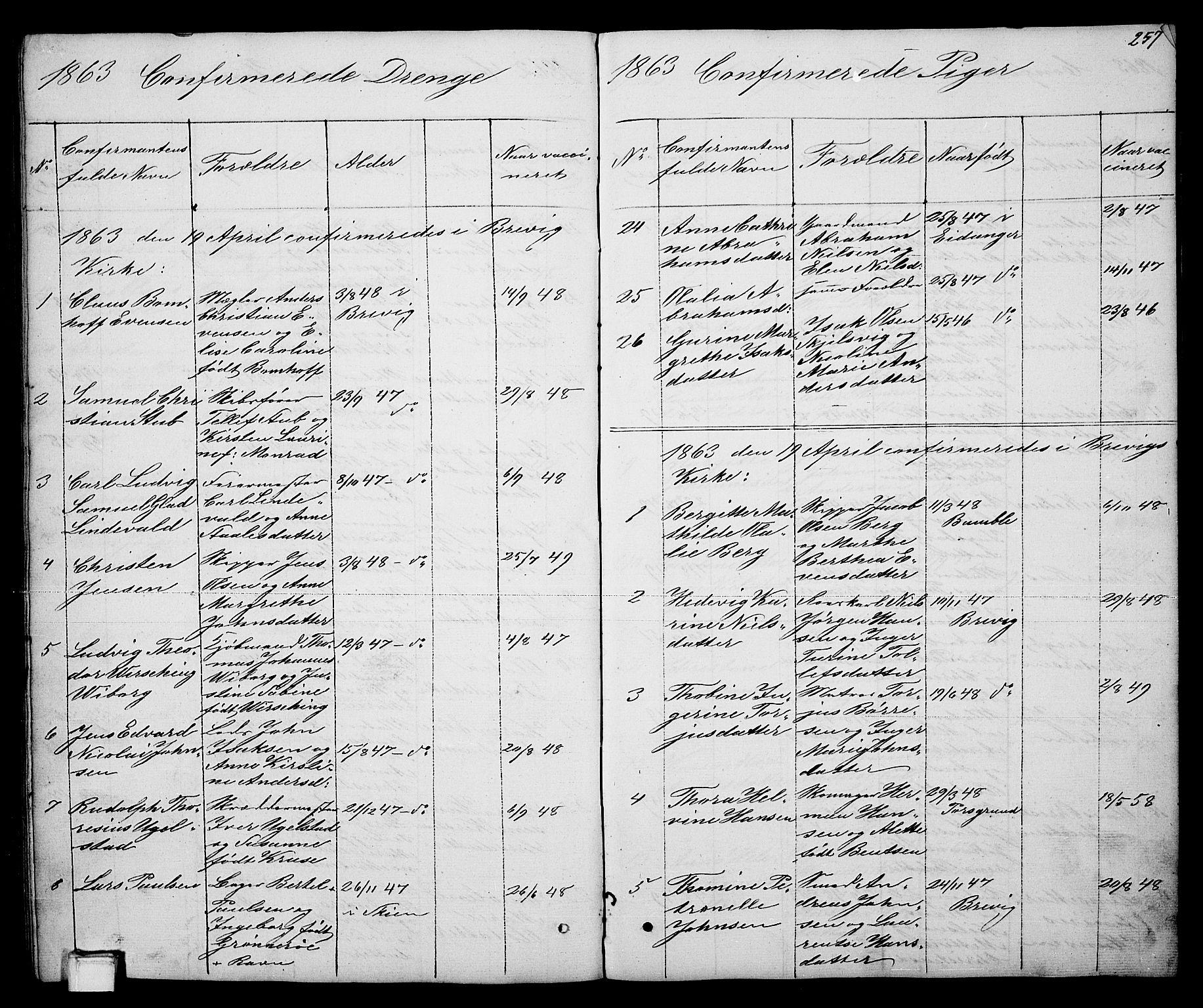 SAKO, Brevik kirkebøker, G/Ga/L0002: Klokkerbok nr. 2, 1846-1865, s. 257