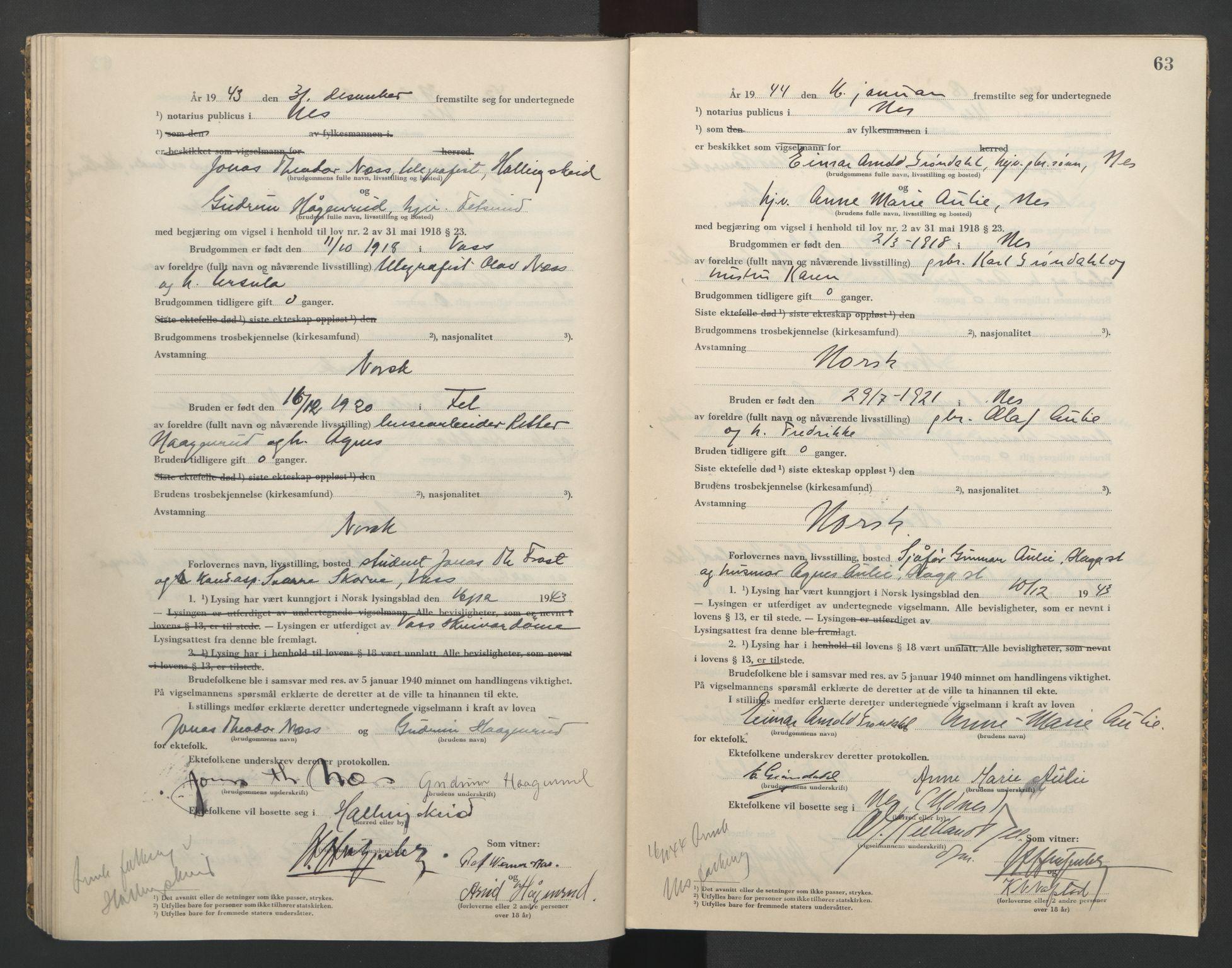 SAO, Nes tingrett, L/Lc/Lca/L0002: Vigselbok, 1943-1944, s. 63