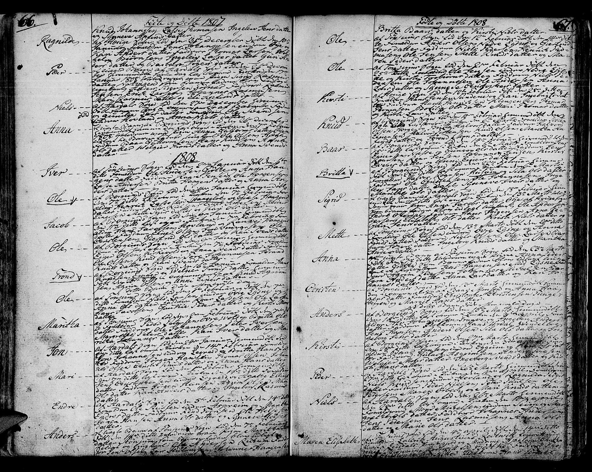SAB, Lærdal sokneprestembete, Ministerialbok nr. A 4, 1805-1821, s. 66-67