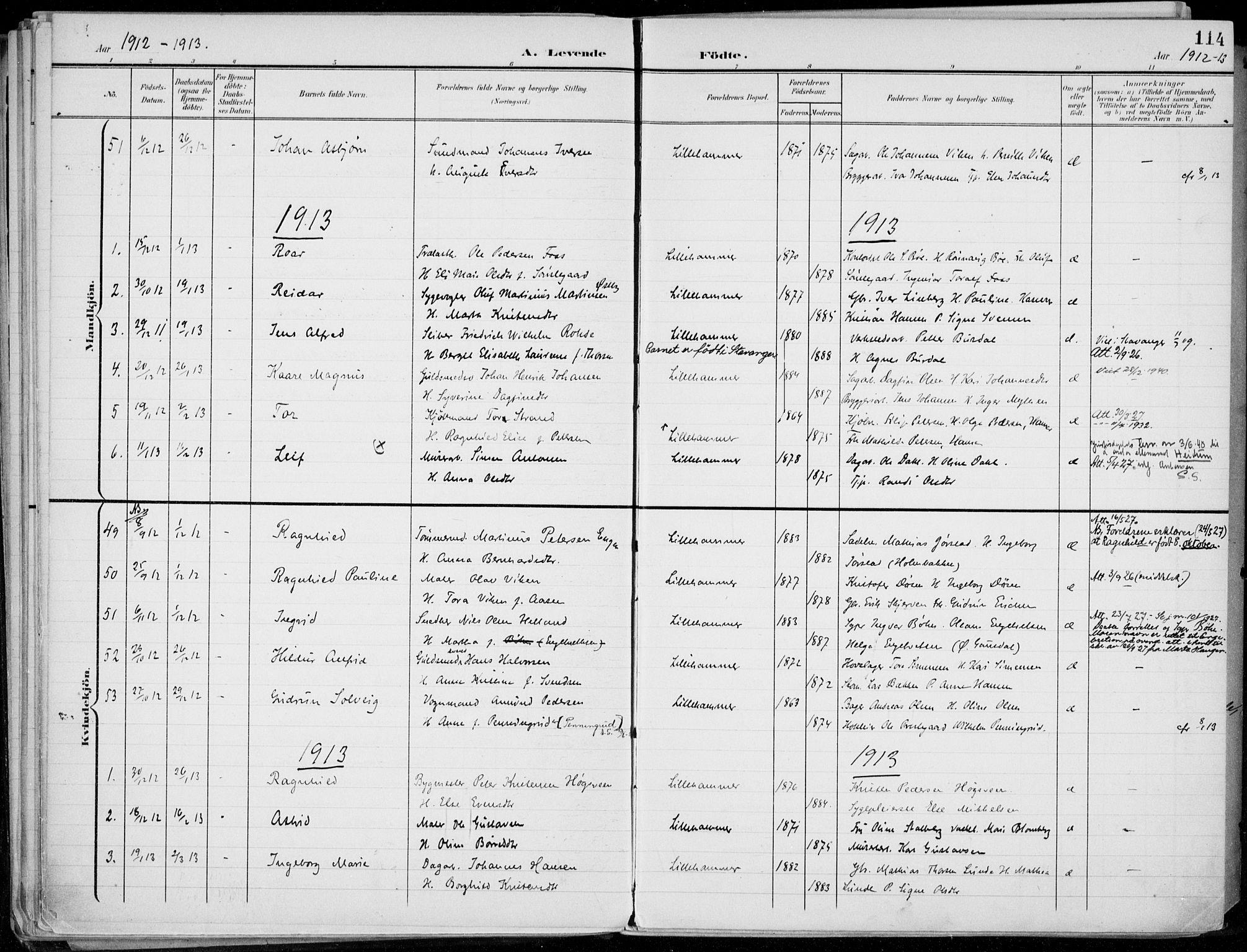 SAH, Lillehammer prestekontor, Ministerialbok nr. 1, 1901-1916, s. 114