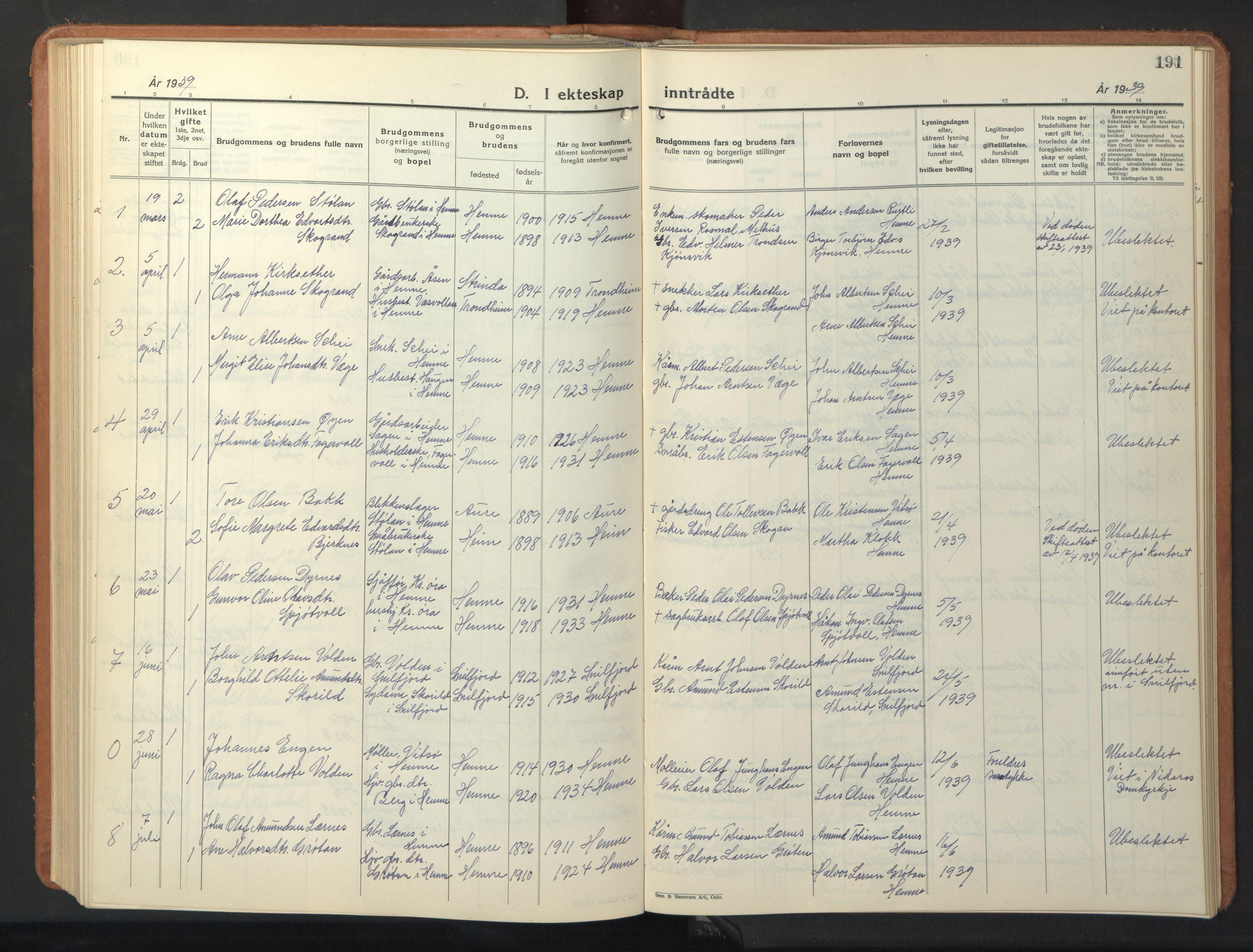SAT, Ministerialprotokoller, klokkerbøker og fødselsregistre - Sør-Trøndelag, 630/L0508: Klokkerbok nr. 630C06, 1933-1950, s. 191