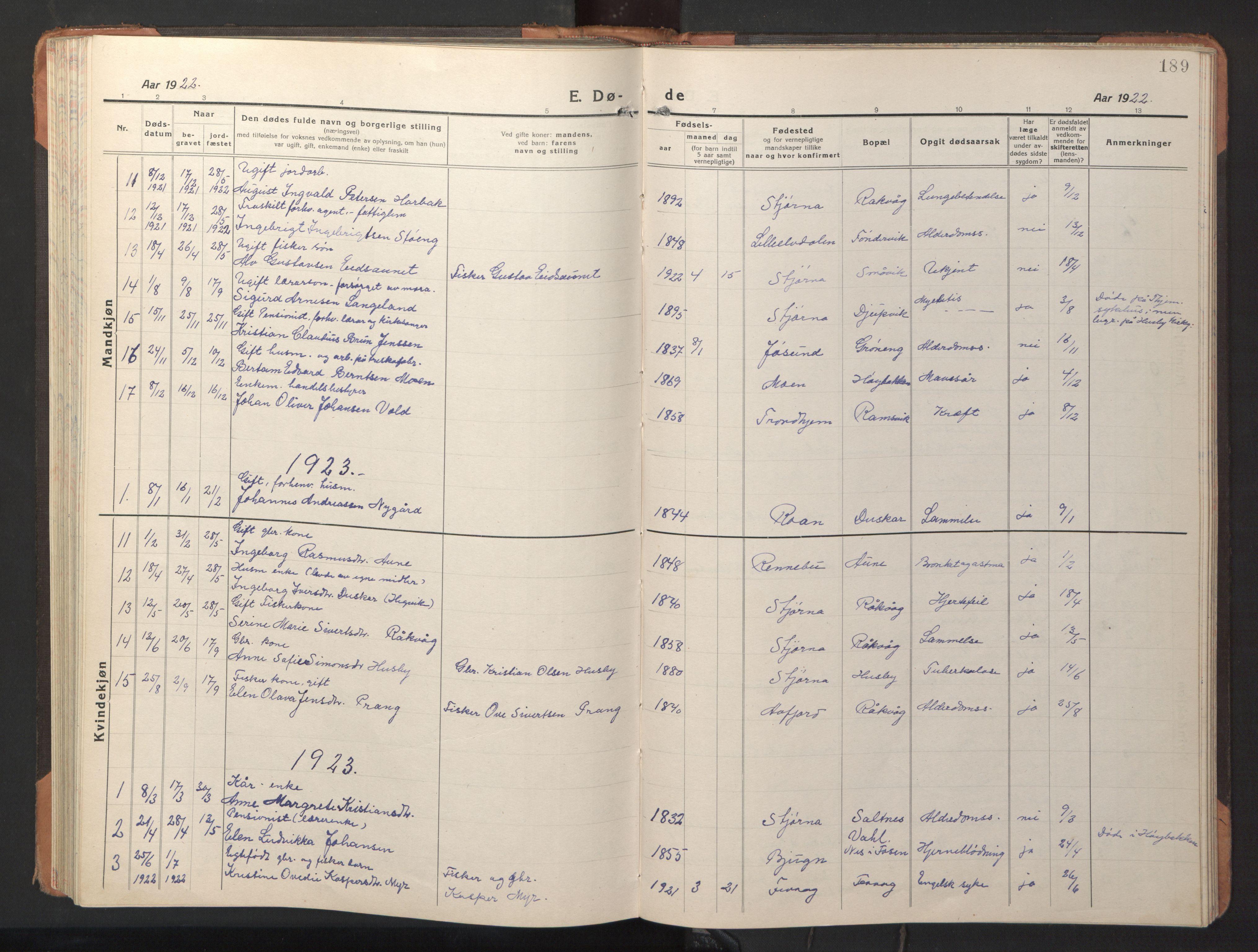 SAT, Ministerialprotokoller, klokkerbøker og fødselsregistre - Sør-Trøndelag, 653/L0658: Klokkerbok nr. 653C02, 1919-1947, s. 189