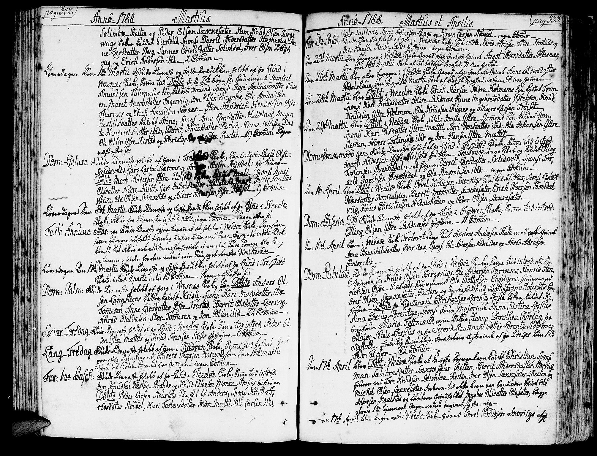 SAT, Ministerialprotokoller, klokkerbøker og fødselsregistre - Møre og Romsdal, 547/L0600: Ministerialbok nr. 547A02, 1765-1799, s. 332-333