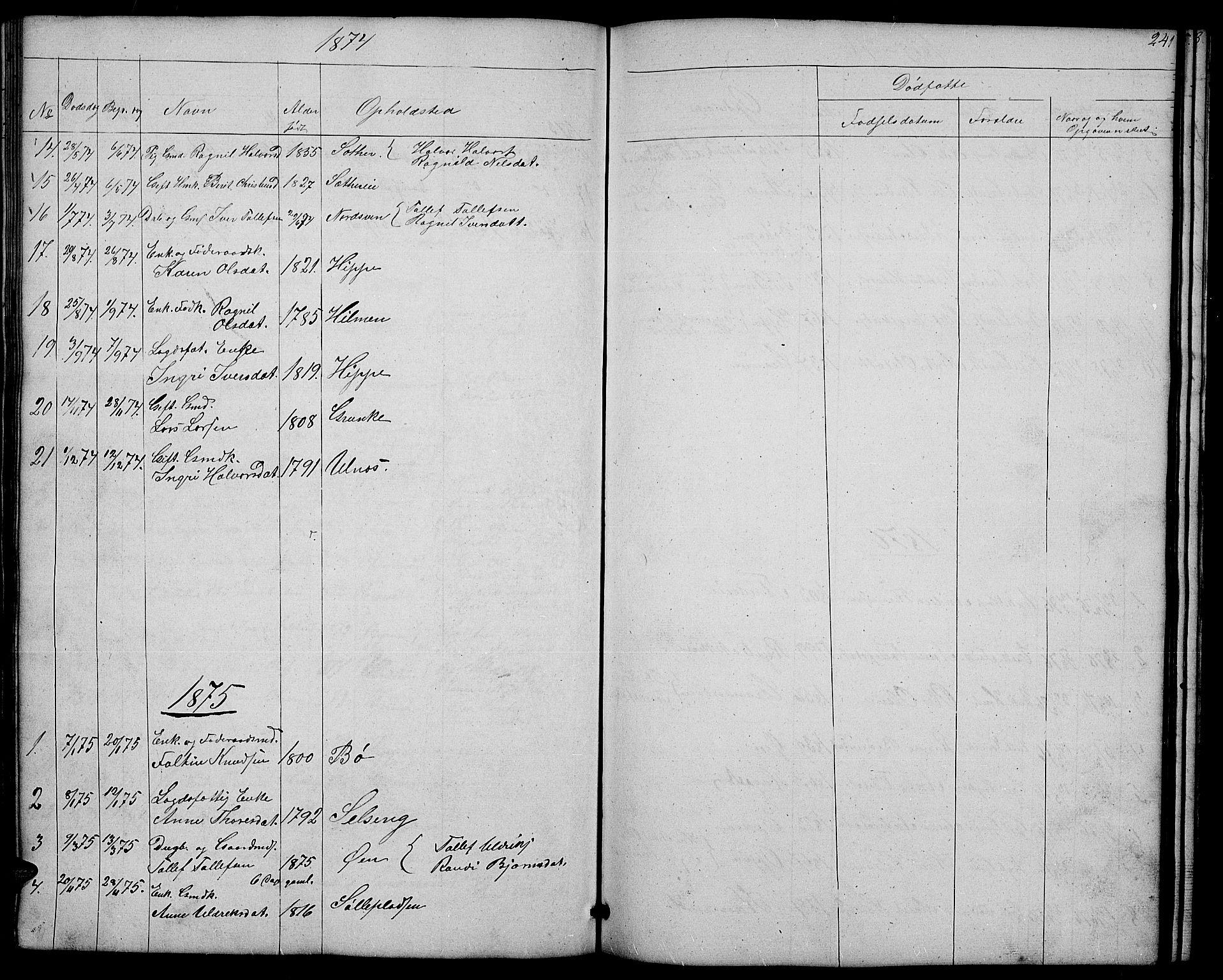 SAH, Nord-Aurdal prestekontor, Klokkerbok nr. 4, 1842-1882, s. 241